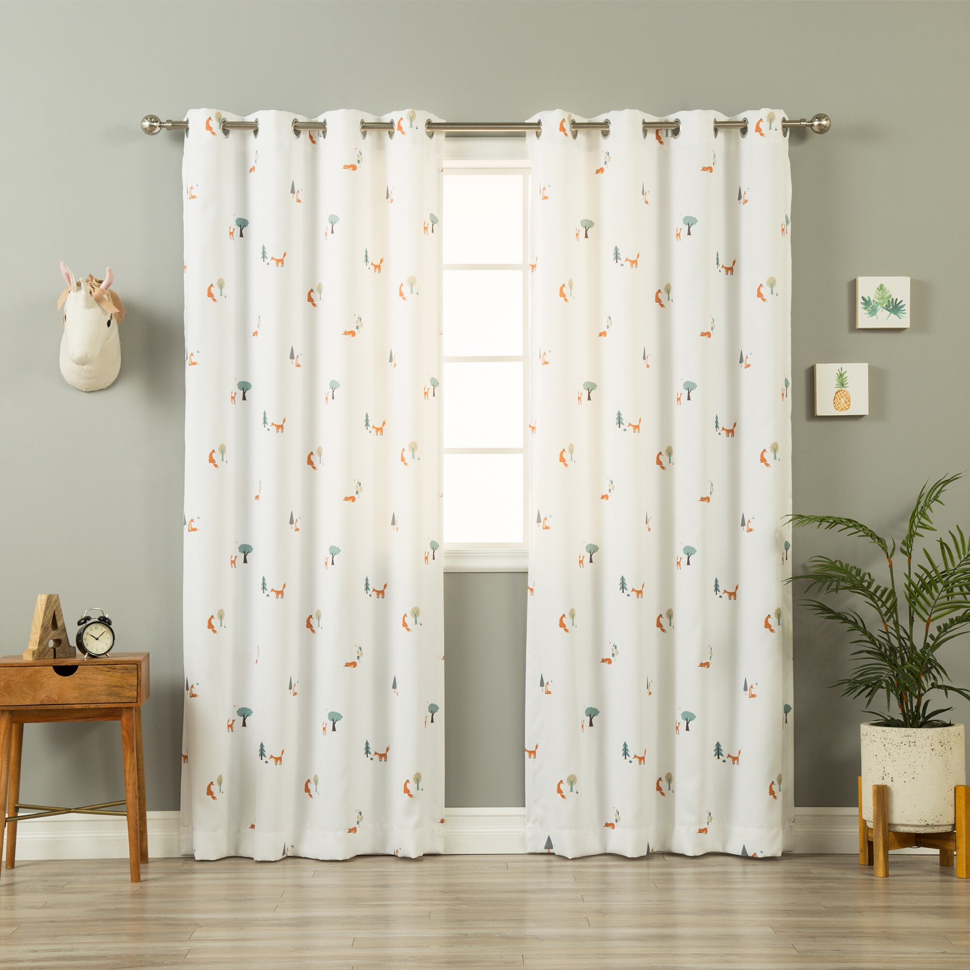 white curtain panels. Aurora Home Scandinavian Woodland Fox White Curtain Panel Pair Panels W