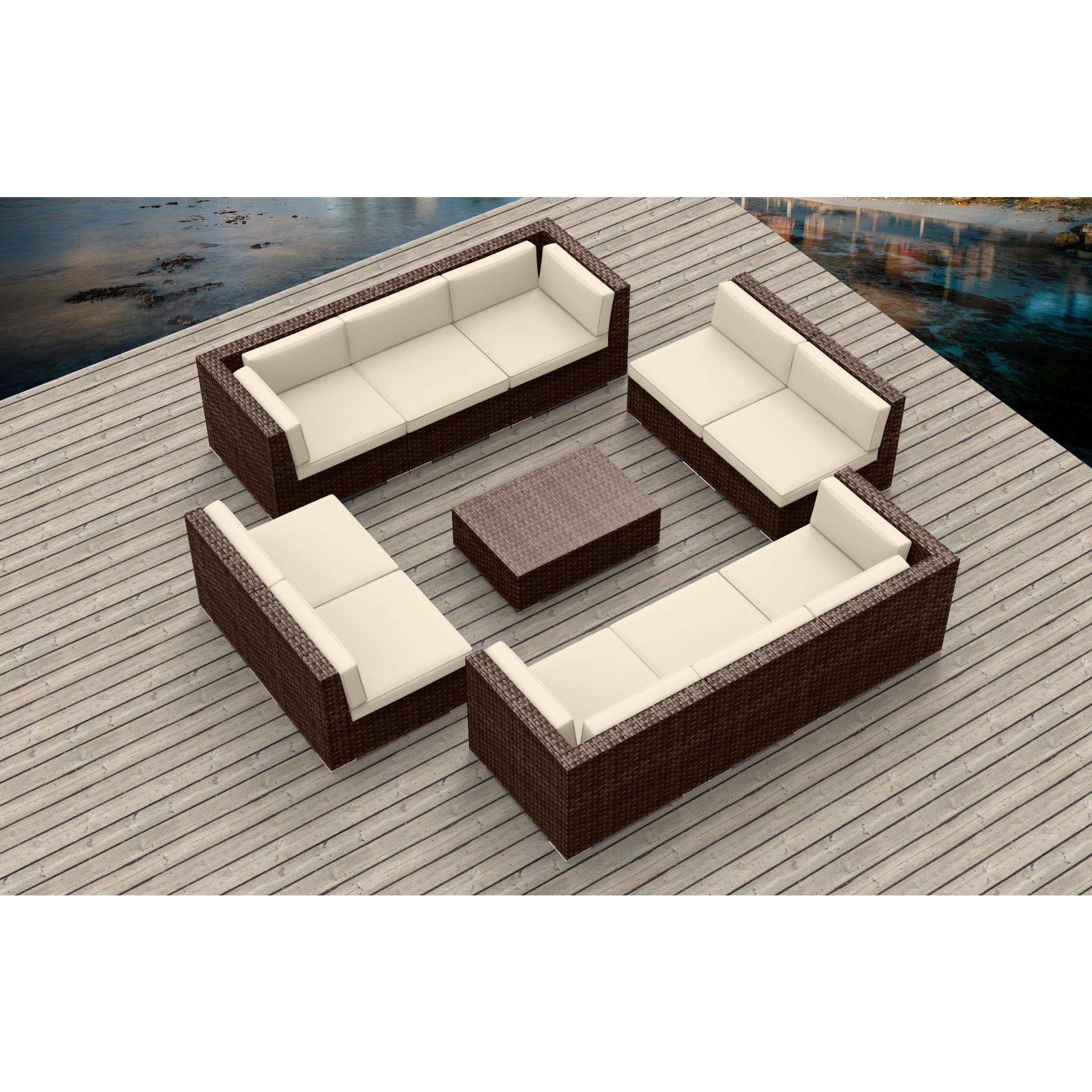 Urban Furnishing Brown Series 11a Modern Outdoor Backyard Wicker Rattan Patio Furniture Sofa Sectional Couch Set