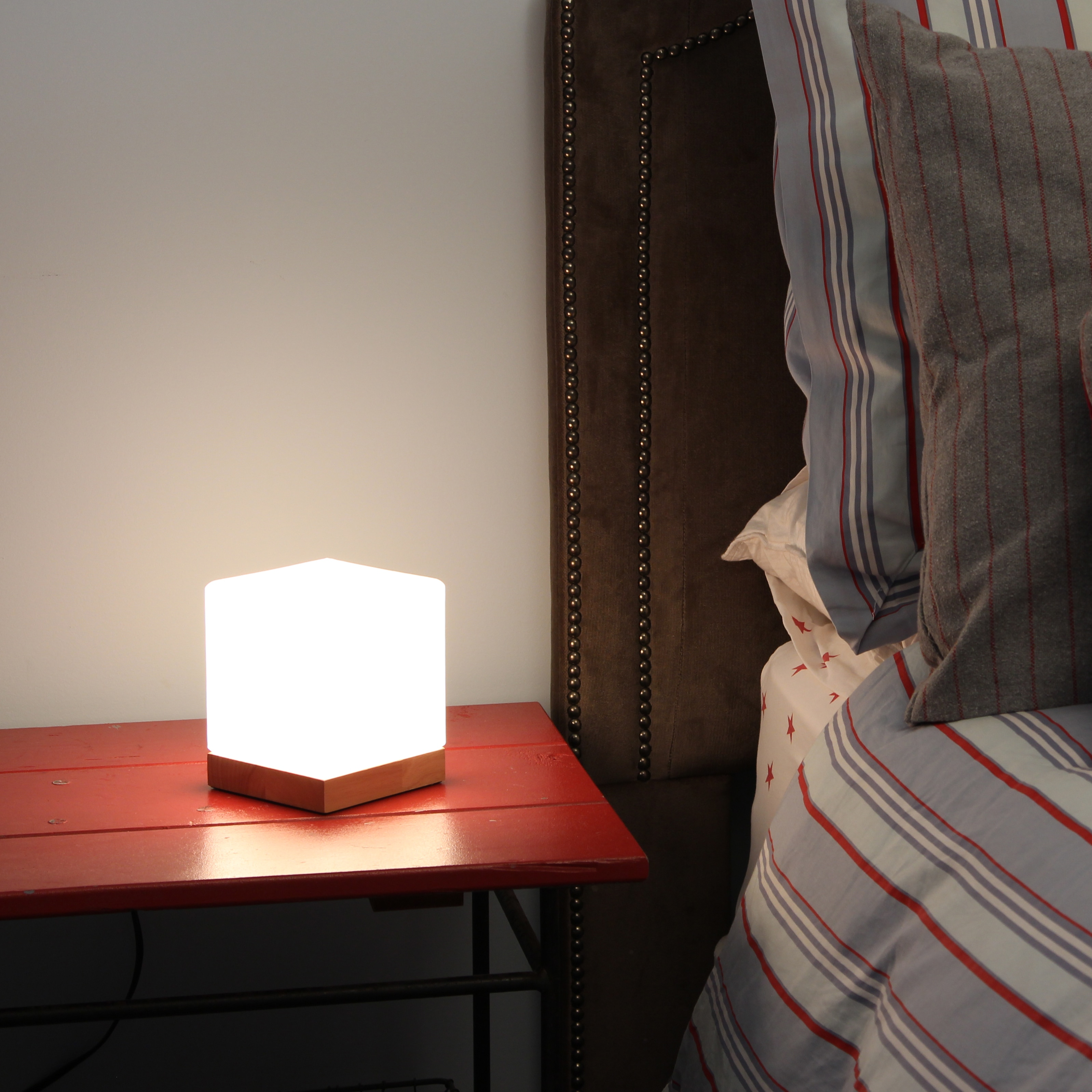 Light Accents Small Table Lamp Cube Accent Gl Shade With Natural Wooden Base On Free Shipping Orders Over 45