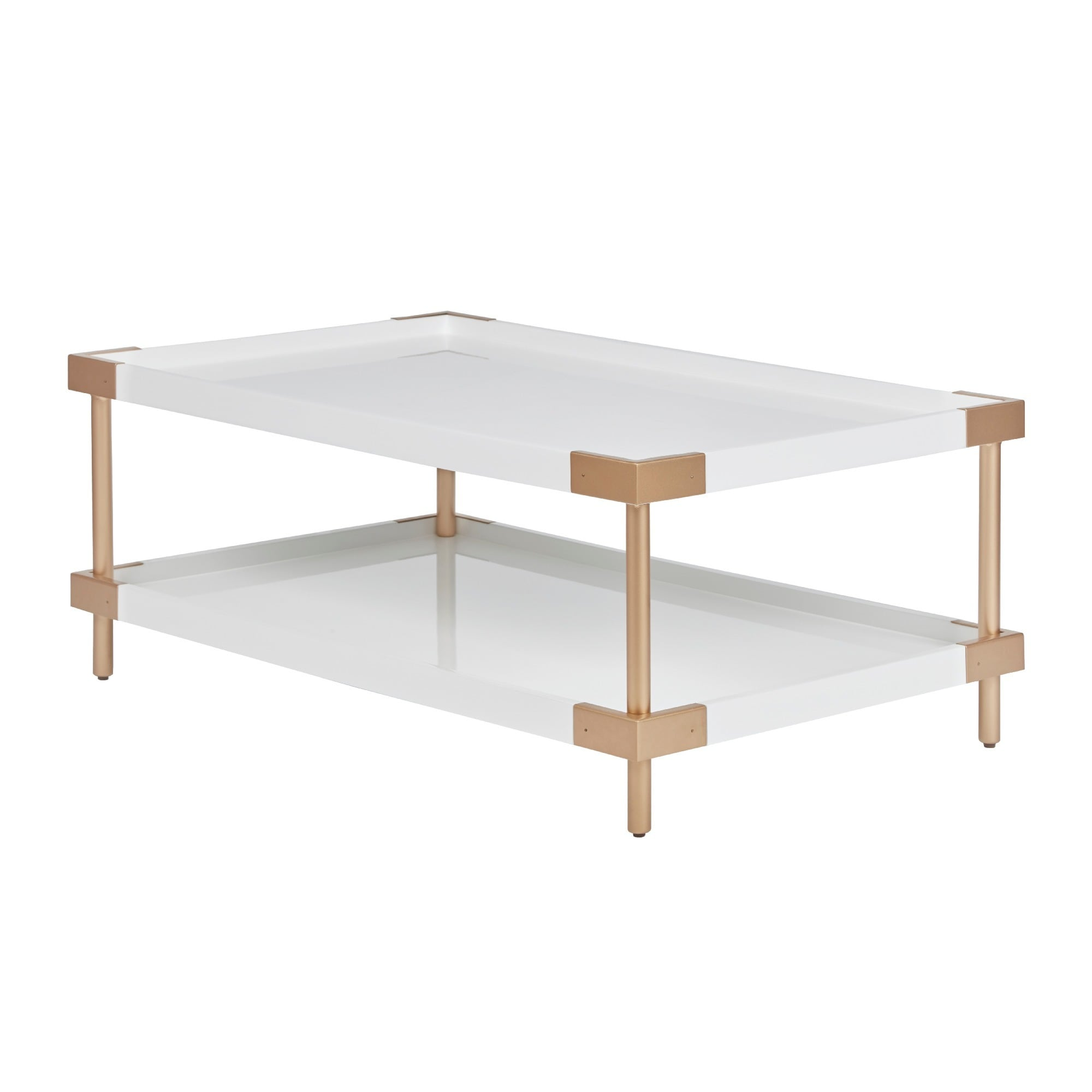 Shop Madison Park Sophia White Gold Coffee Table Free Shipping