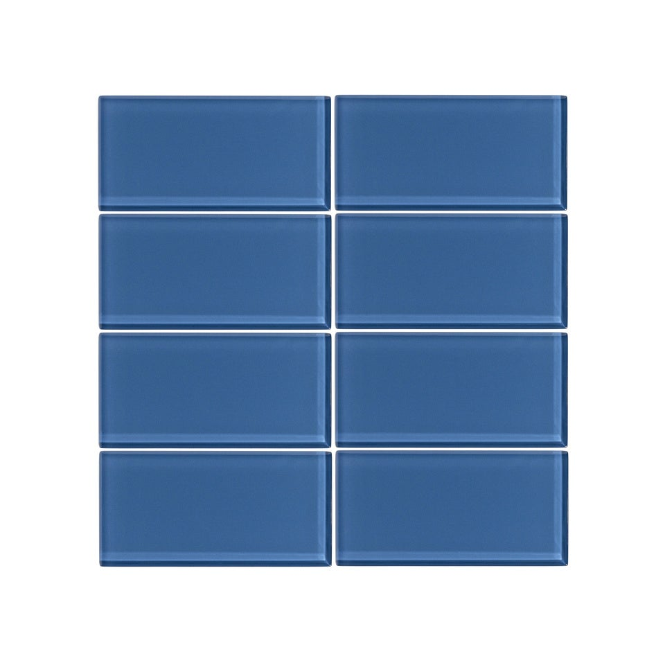 Vicci Design Denim Blue Glass 3-inch x 6-inch Subway Tile (6 square ...