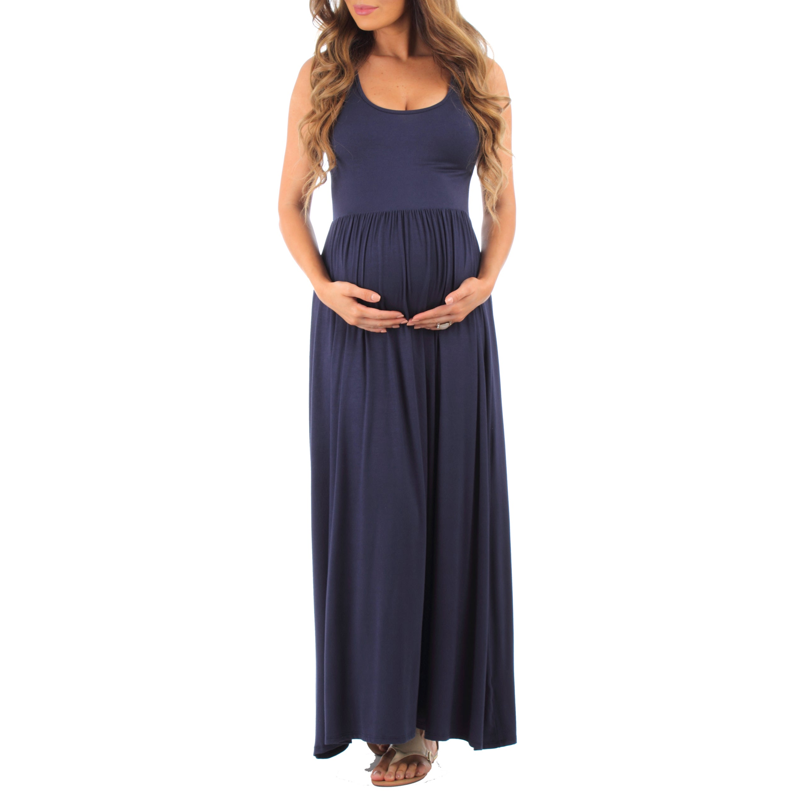44ac416b Mother Bee Women's Ruched Sleeveless Maternity Dress