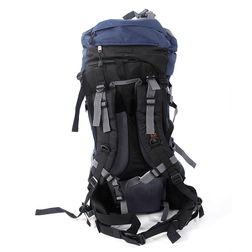 b6cc2e02d7f2 Shop 80L Outlander Dark Blue and Grey Canvas Professional Backpack  Shoulders Bag - Ships To Canada - Overstock.ca - 14773791