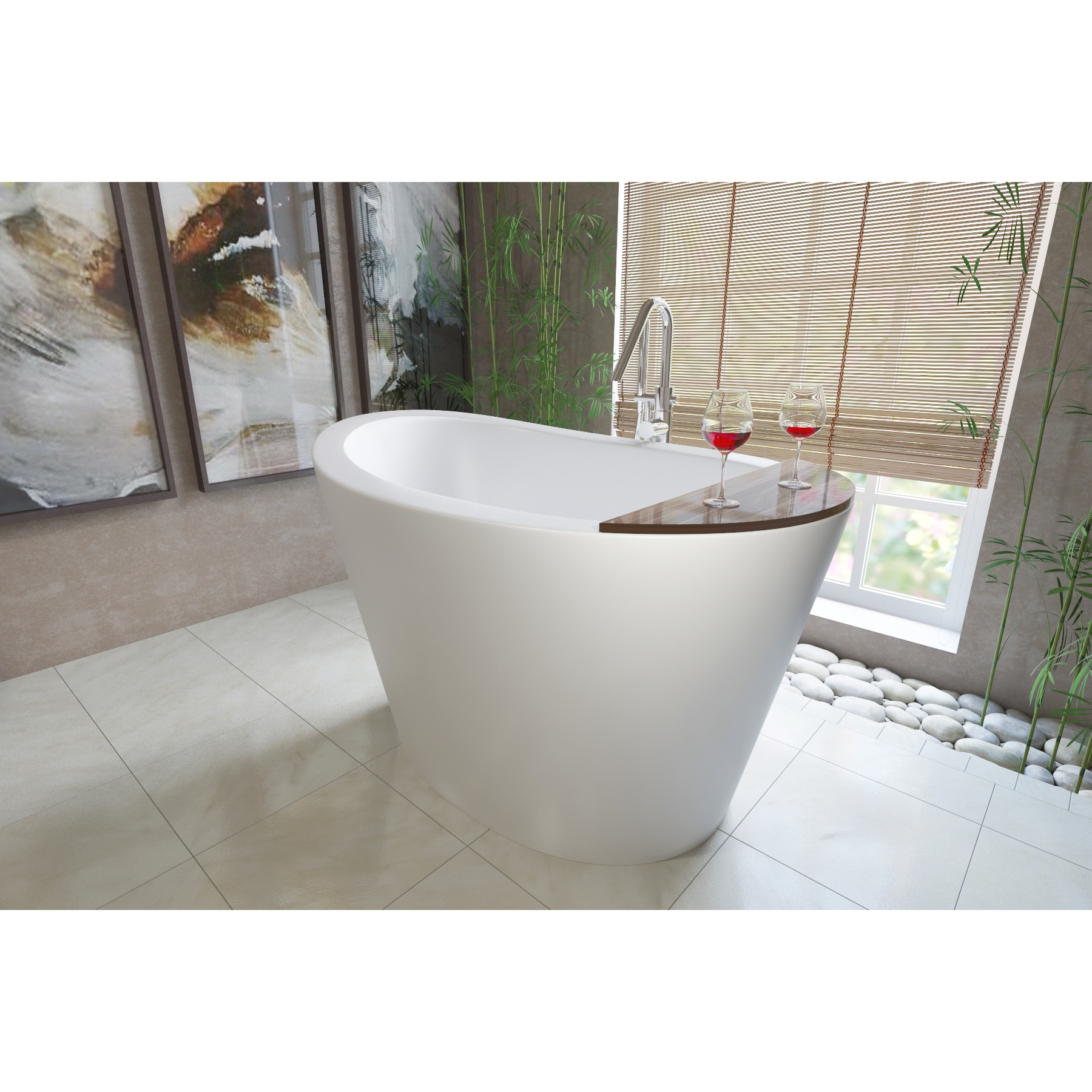 Shop Aquatica True Ofuro Freestanding Stone Japanese Soaking Bathtub ...