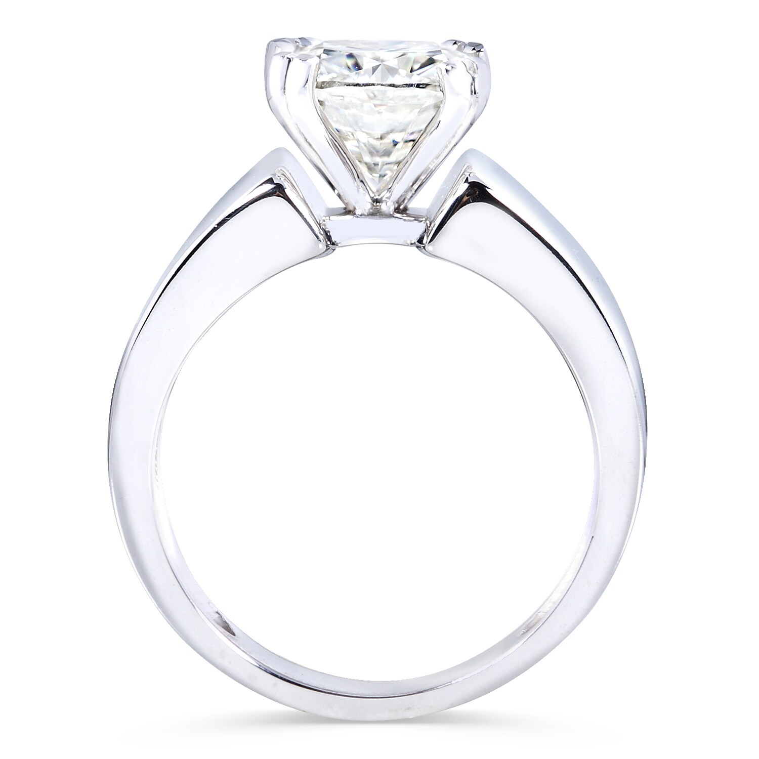 7a6555695 Shop Annello by Kobelli 14k White Gold 2ct Cushion Moissanite Solitaire  4-prong Wide Flare Band Engagement Ring - On Sale - Free Shipping Today -  Overstock ...