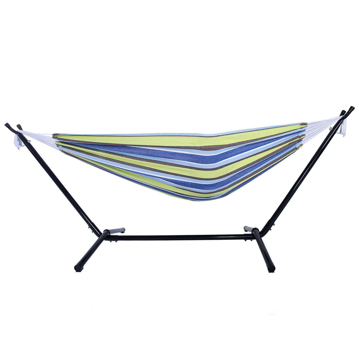 Shop Portable Outdoor Green And Blue Striped Polyester Hammock Set