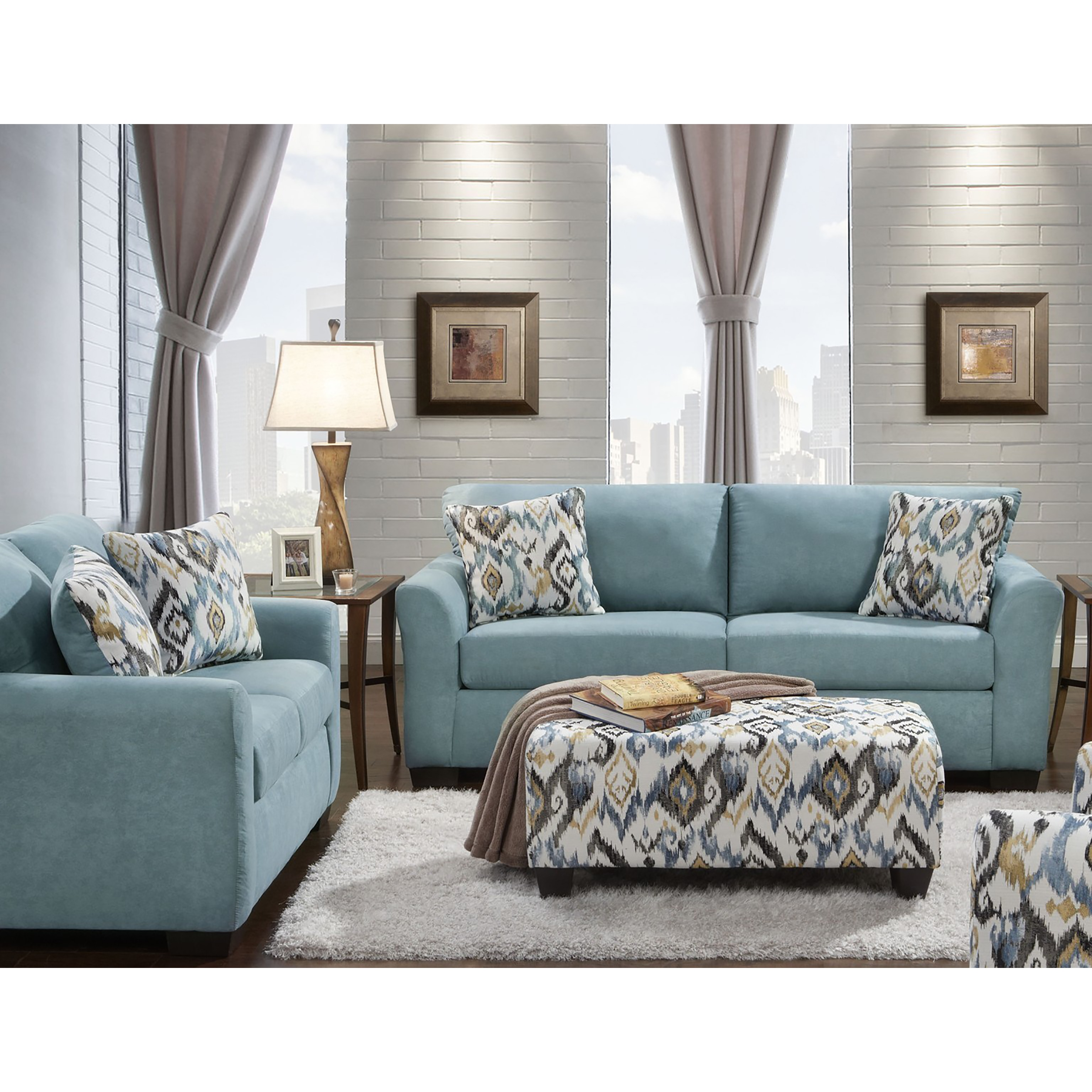Sofa Trendz Cairo Blue 3 Piece Loveseat And Ottoman Set Free Shipping Today 14780713