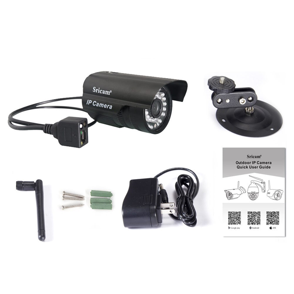 Wireless Sricam Black U S  Standard Plug CMOS 1 0MP Outdoor IP Camera with  3 6mm Lens