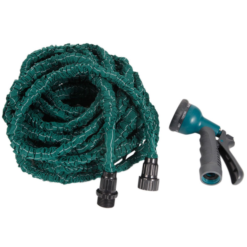Dark Green 100FT Stretchable Garden Hose with Spray Nozzle (US ...