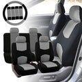 Four Seasons Universal 4-headrest Flat Cloth Grey/Black Car Seat Cover (9-piece Set)