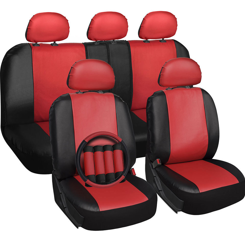 Red And Black Pu Leather Four Season Universal 5 Headrest 18 Piece Car Seat Cover Set
