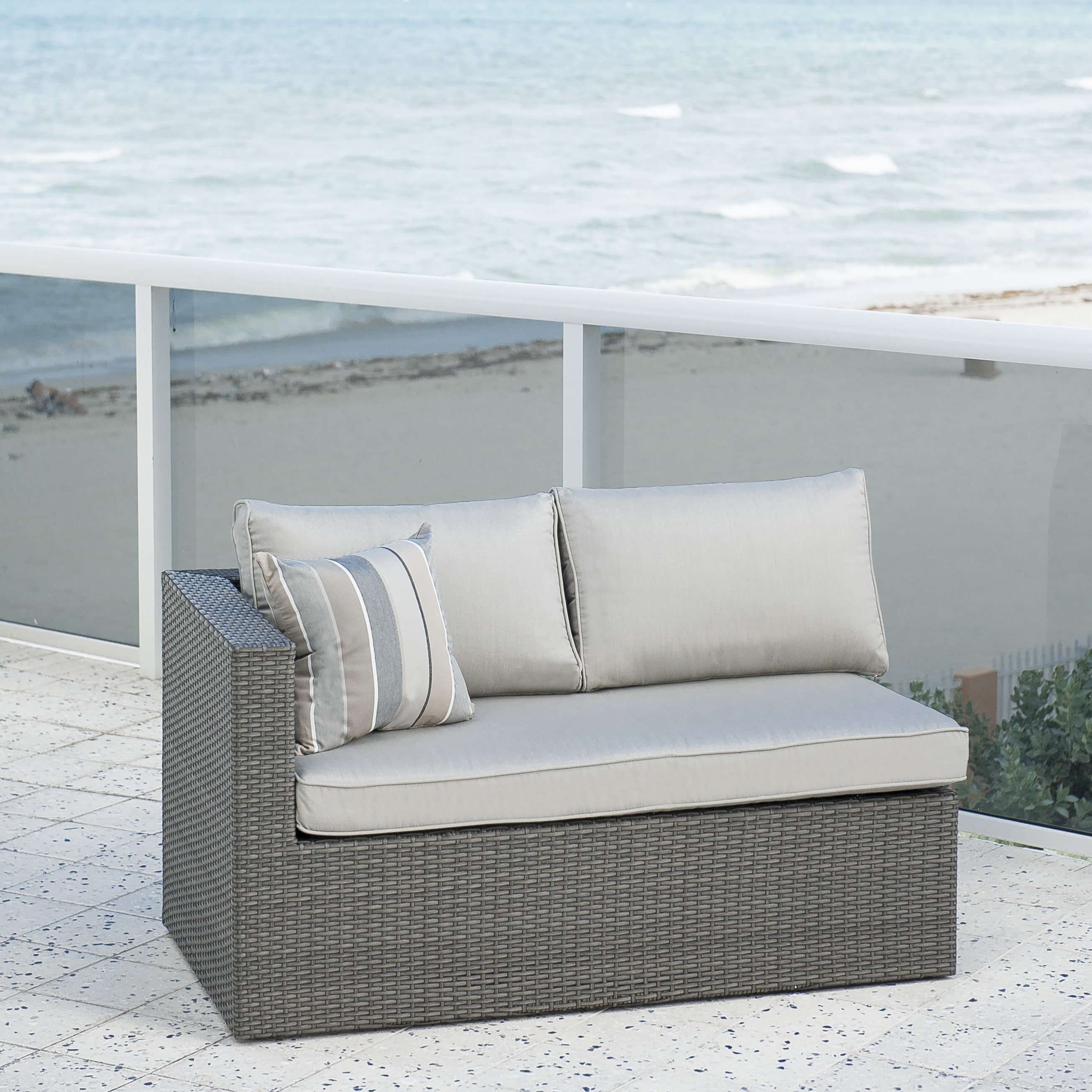 Atlantic Pescara 3 Piece Grey Synthetic Wicker Sectional Set with