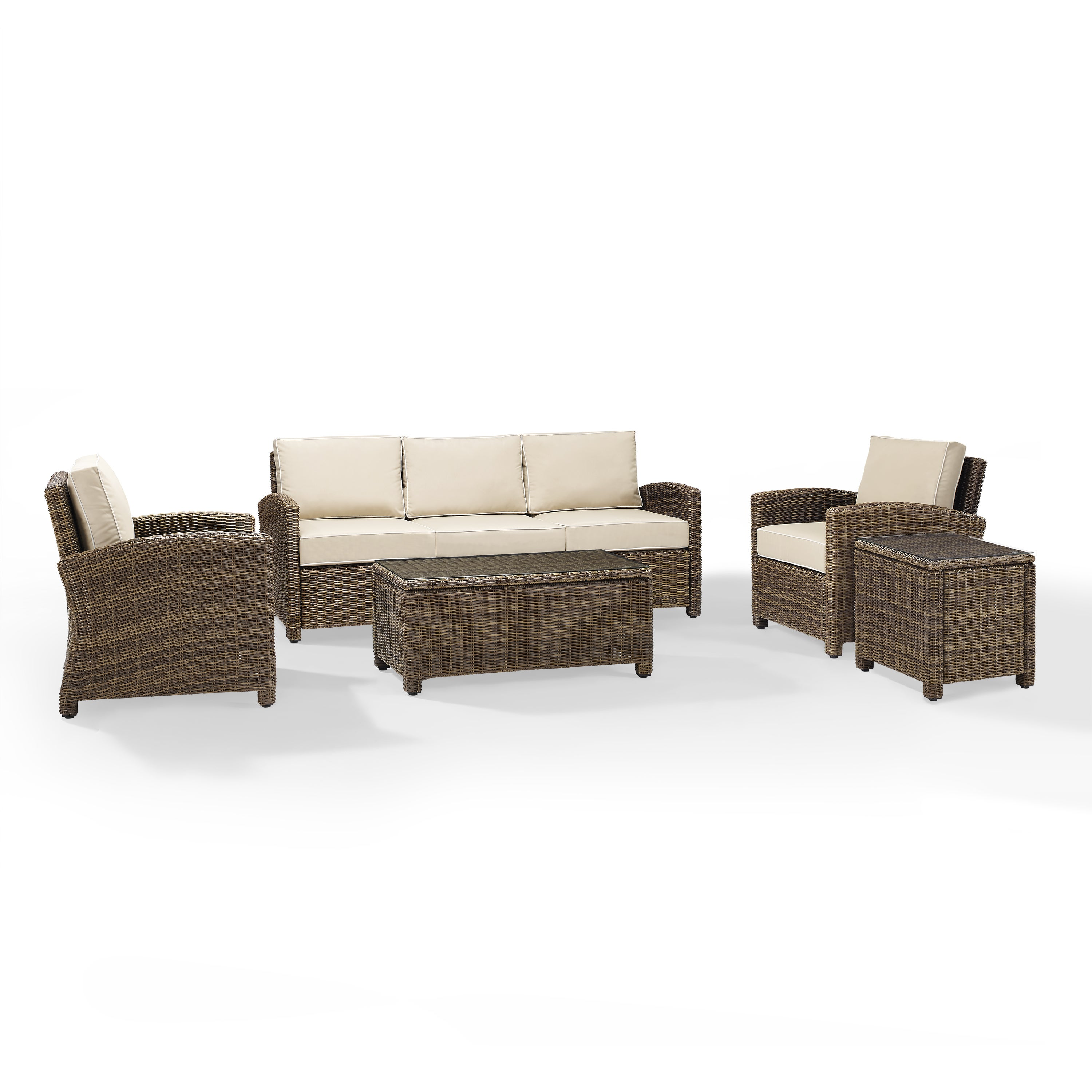 Shop Bradenton 5 Piece Outdoor Wicker Set With Sand Cushions   Sofa, Two  Arm Chairs, Side Table U0026 Glass Top Table   Free Shipping Today    Overstock.com   ...