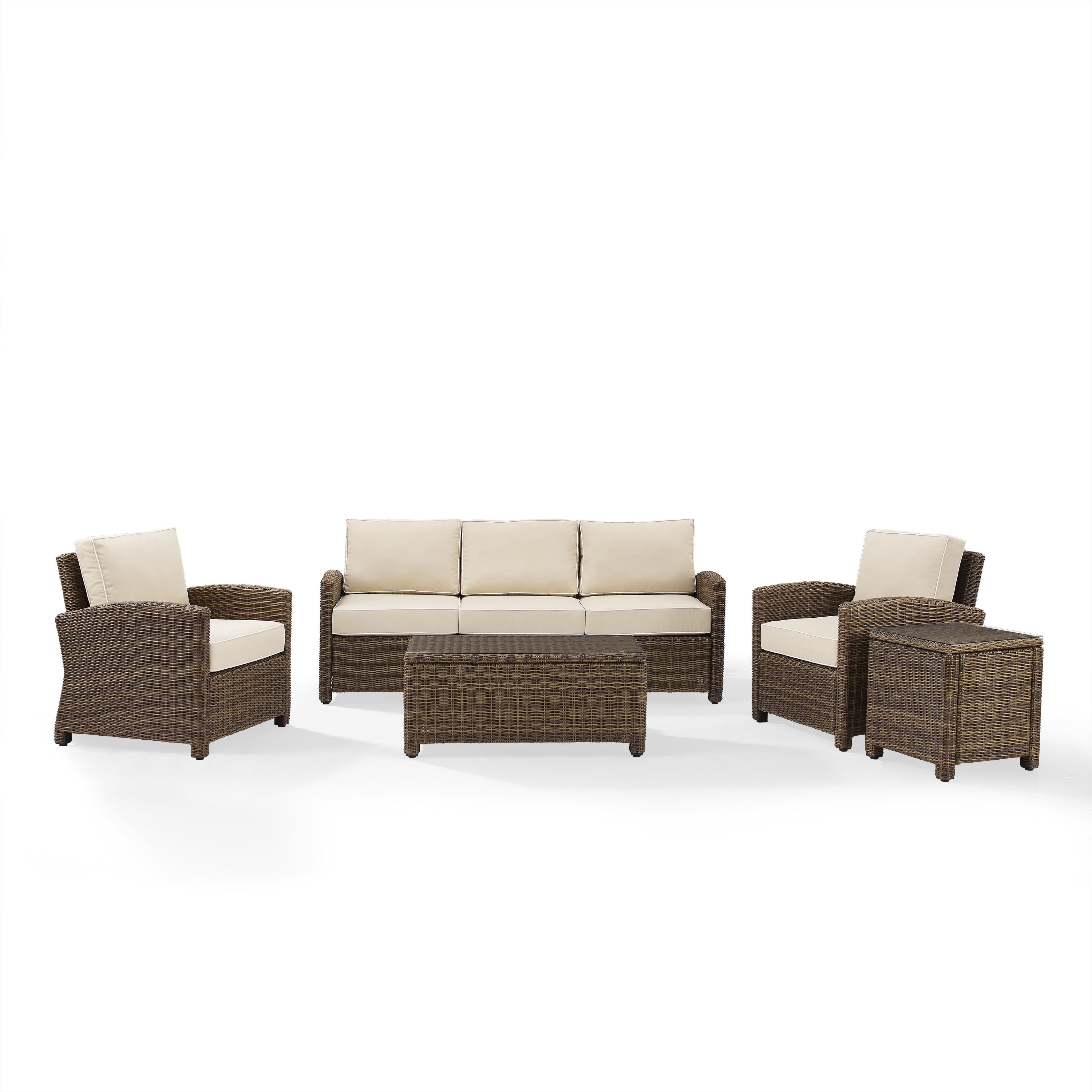 Bradenton 5 Piece Outdoor Wicker Set With Sand Cushions Sofa Two Arm Chairs Side Table Glass Top Table