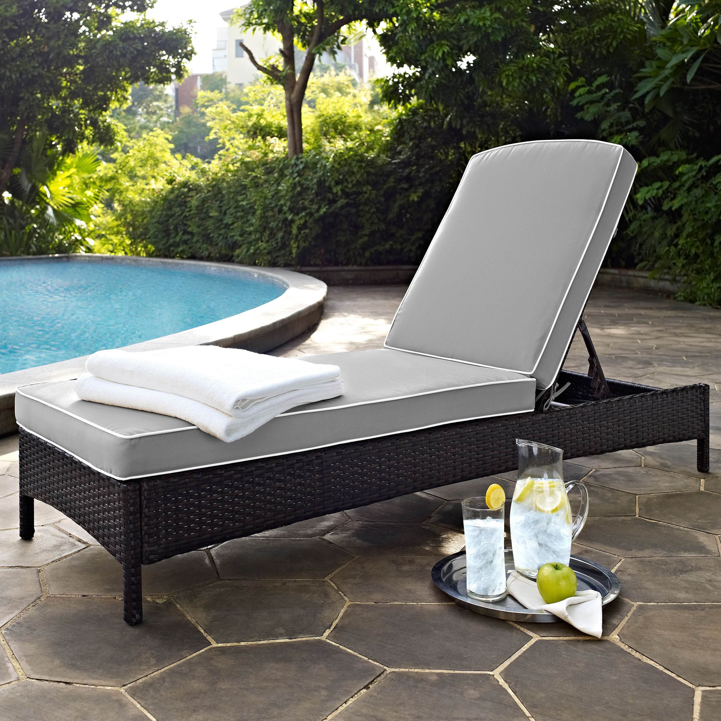 Outdoor Chaise Lounge.Palm Harbor Brown Wicker Outdoor Chaise Lounge With Grey Cushions
