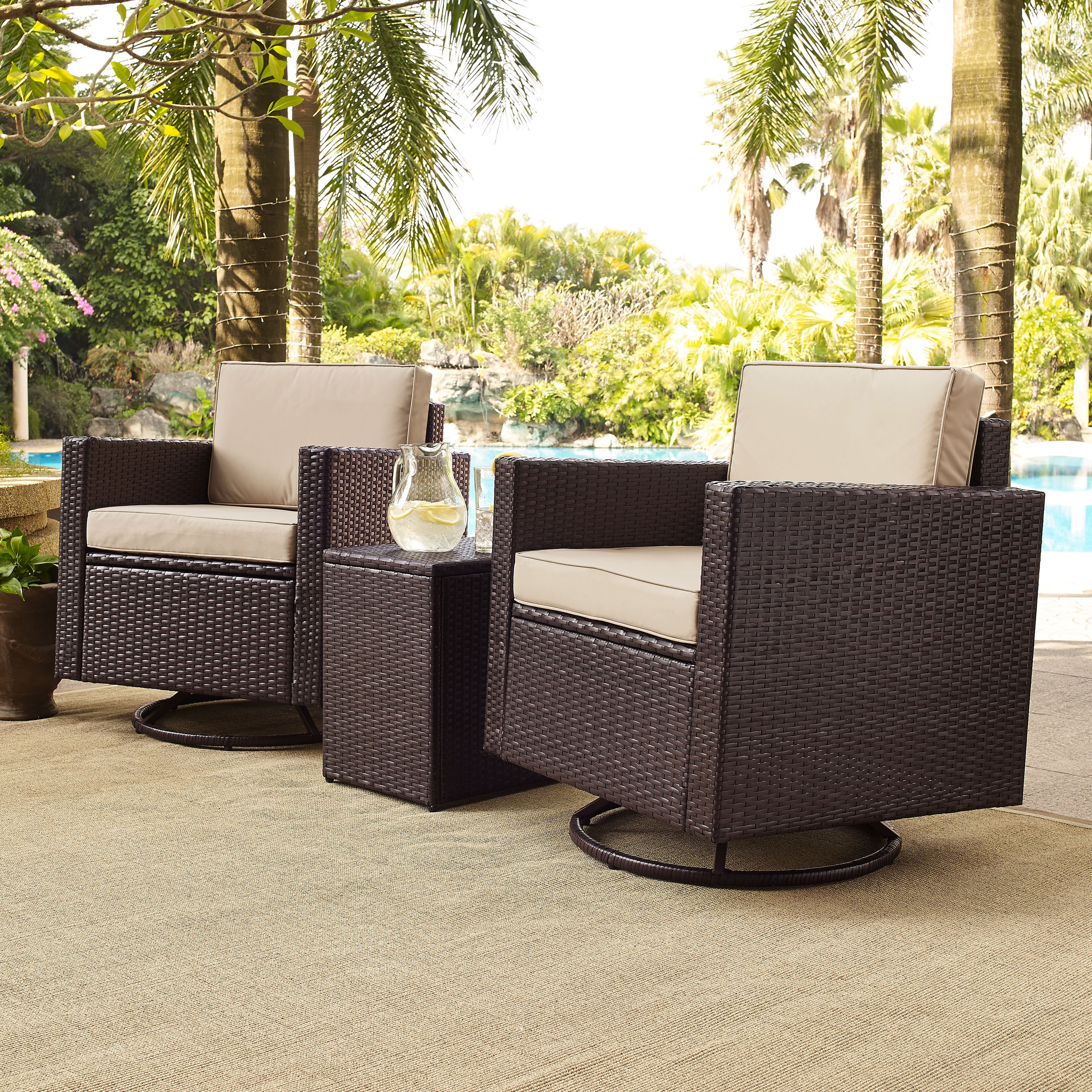 palm harbor 3 piece outdoor wicker conversation set with sand