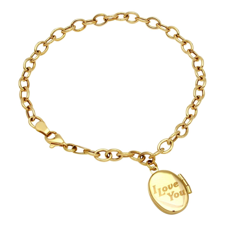 14k Yellow Gold Locket Bracelet Free Shipping Today 14790171