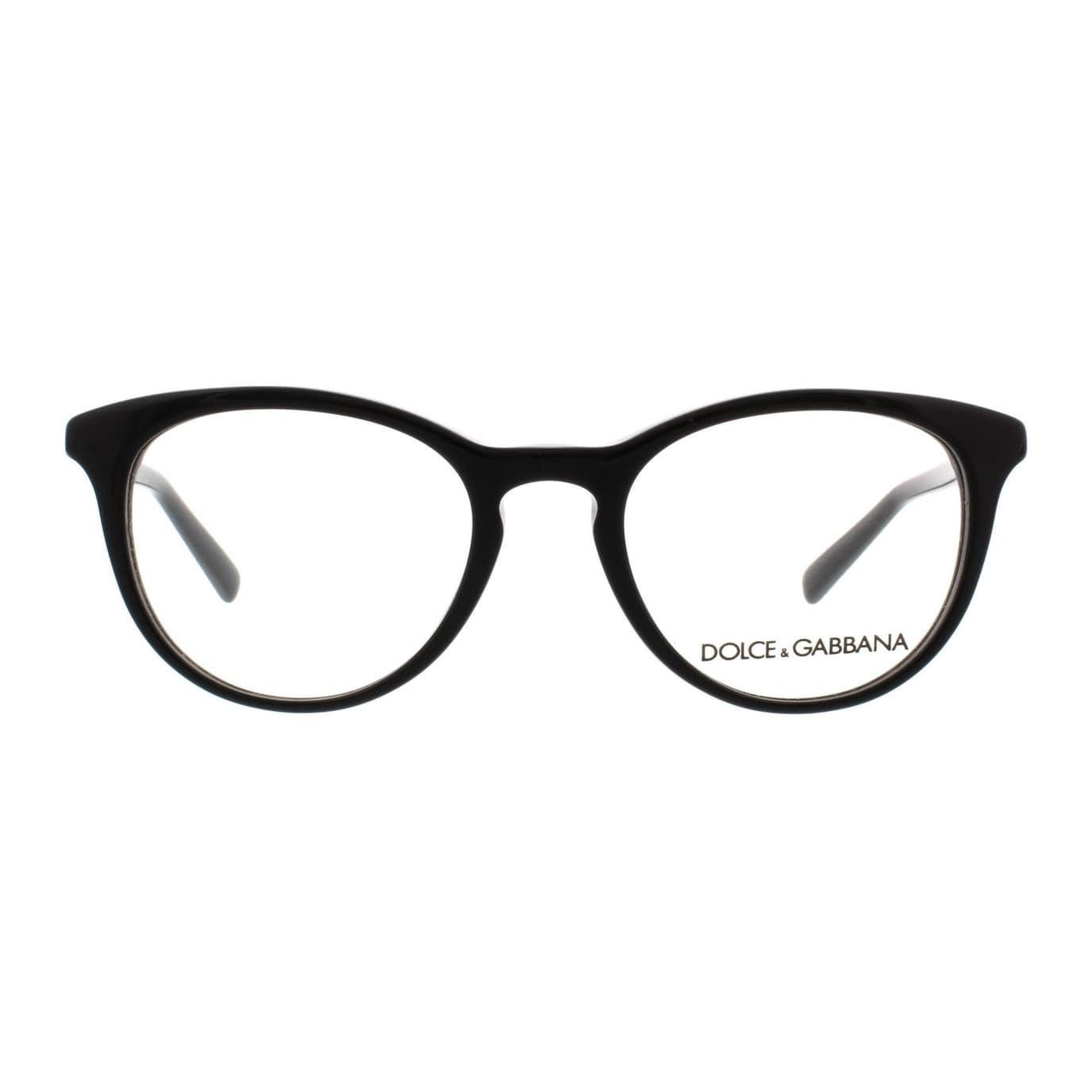 13055efb1e39 Shop Dolce & Gabbana Women's DG3223 501 47 Round Plastic Black Clear  Eyeglasses - Free Shipping Today - Overstock - 14791159