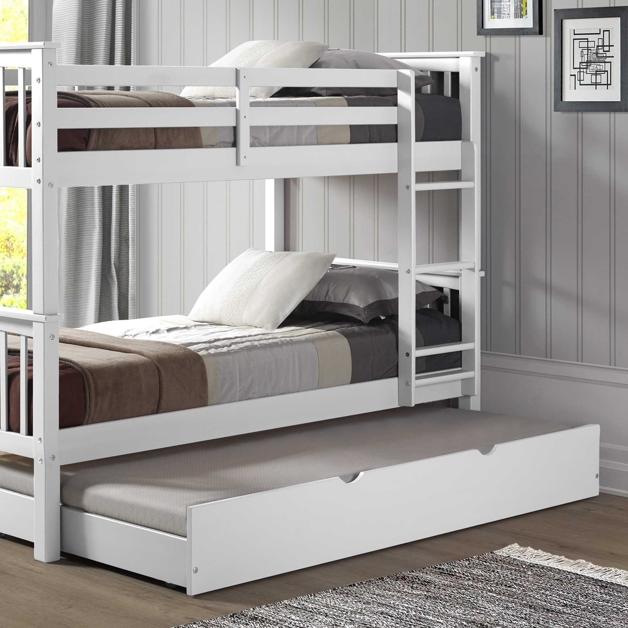 Solid Wood Twin Bunk Bed With Trundle White On Free Shipping Today 14792100