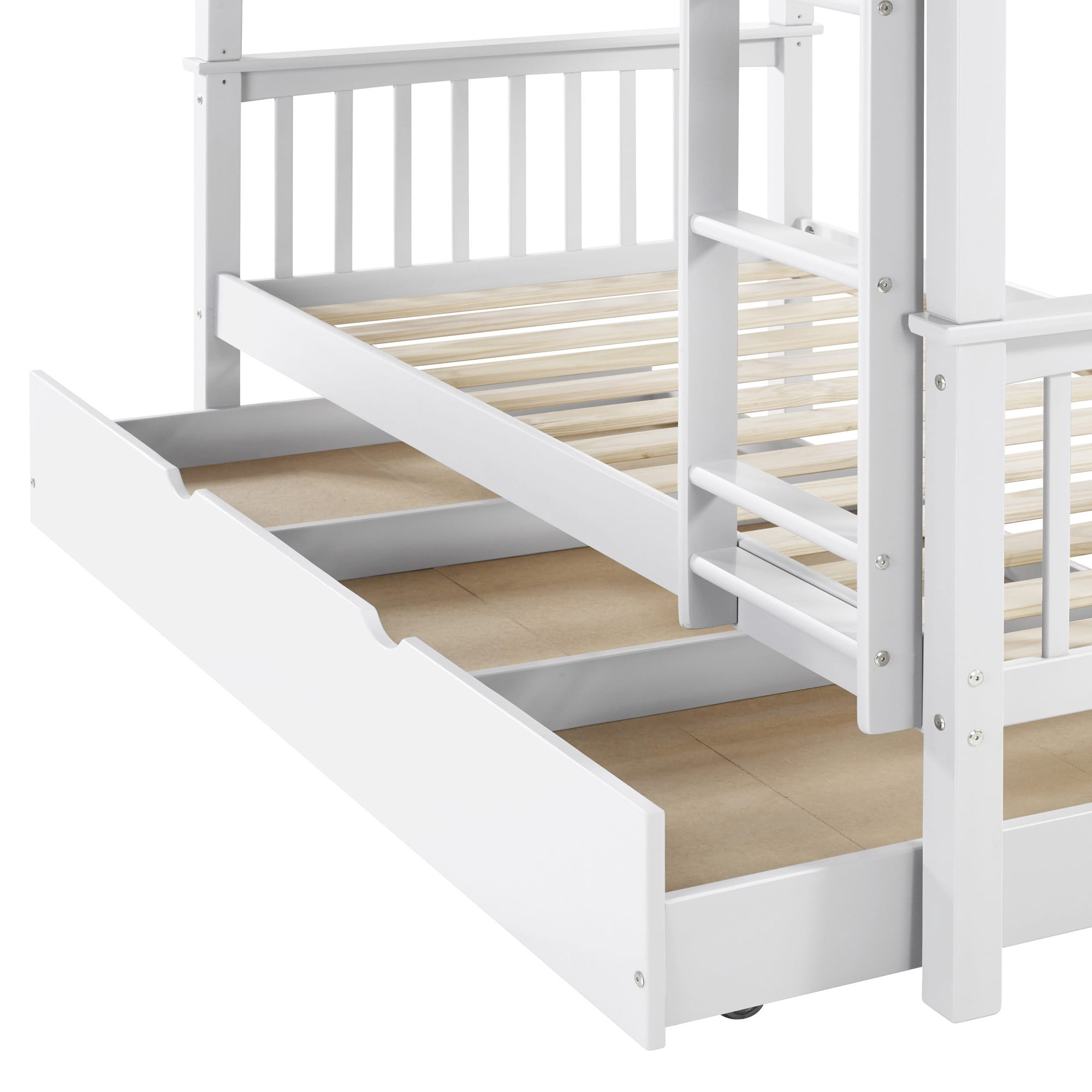 White Wood Twin Bunk Bed And Trundle Set  Free