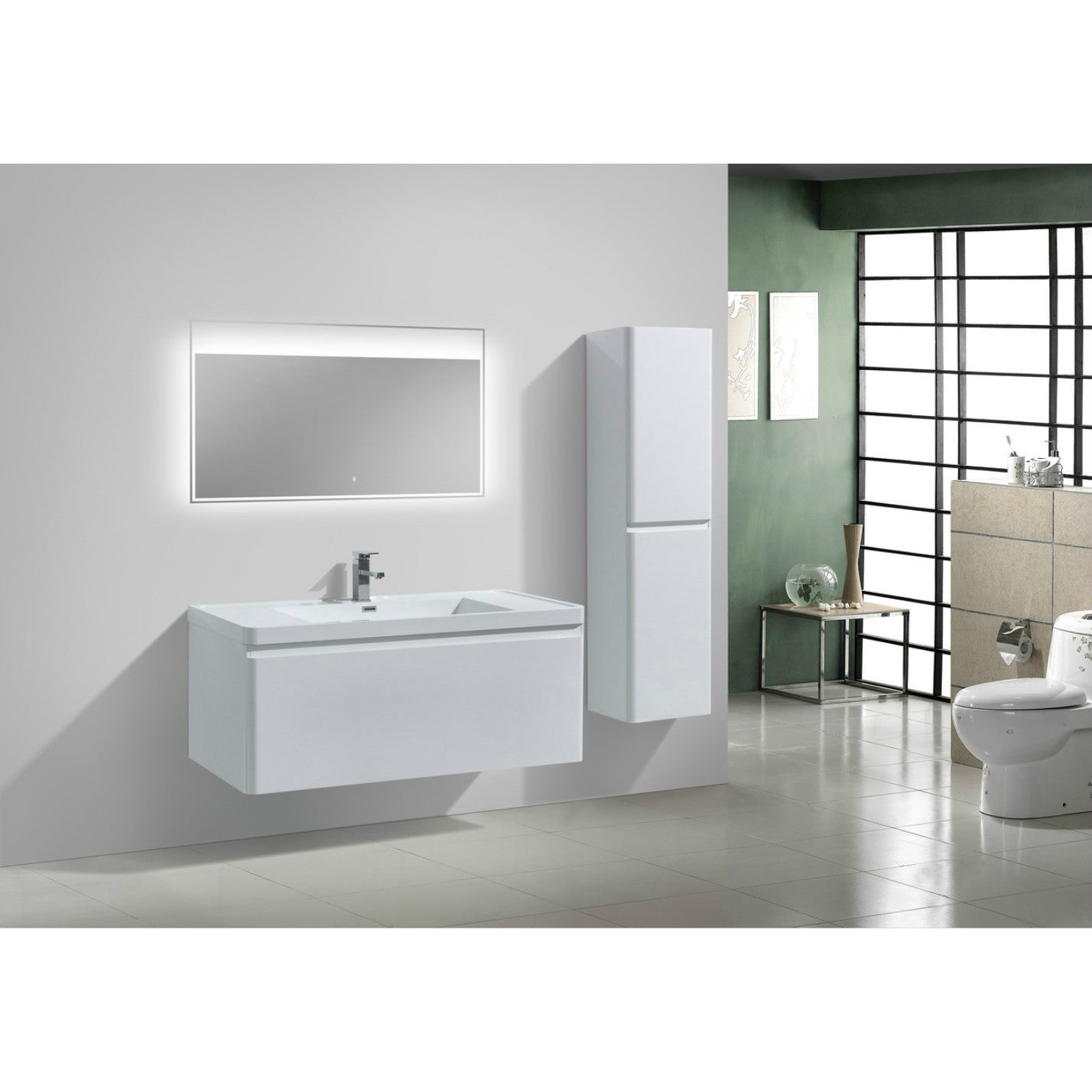Moreno Smile Modern Acrylic Sink 2 Drawer 48 Inch Single Bathroom Vanity