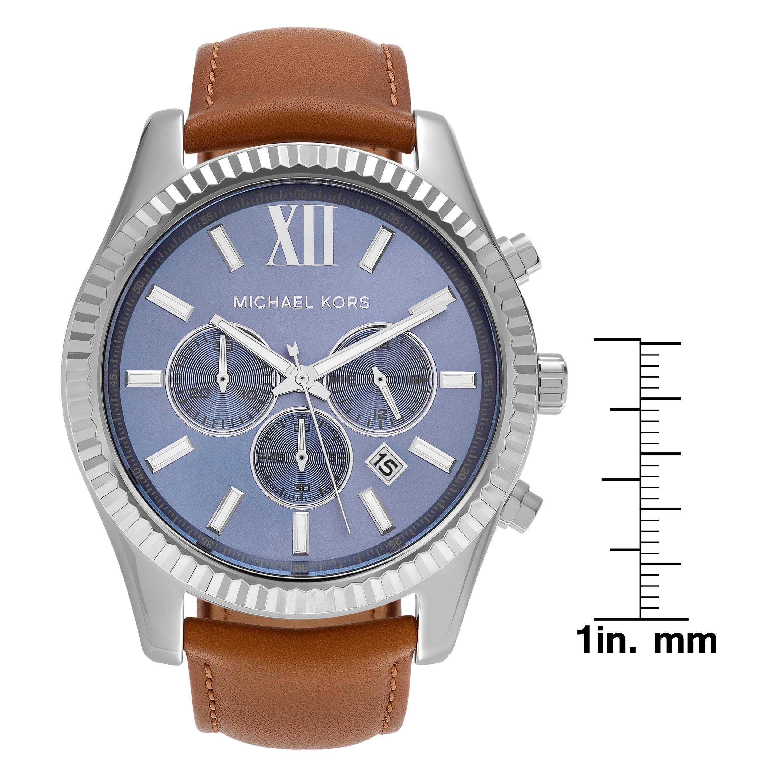 12588a57e Michael Kors Men's 'Lexington' MK8537 Stainless Steel Blue Chronograph Dial Leather  Strap Watch - Brown