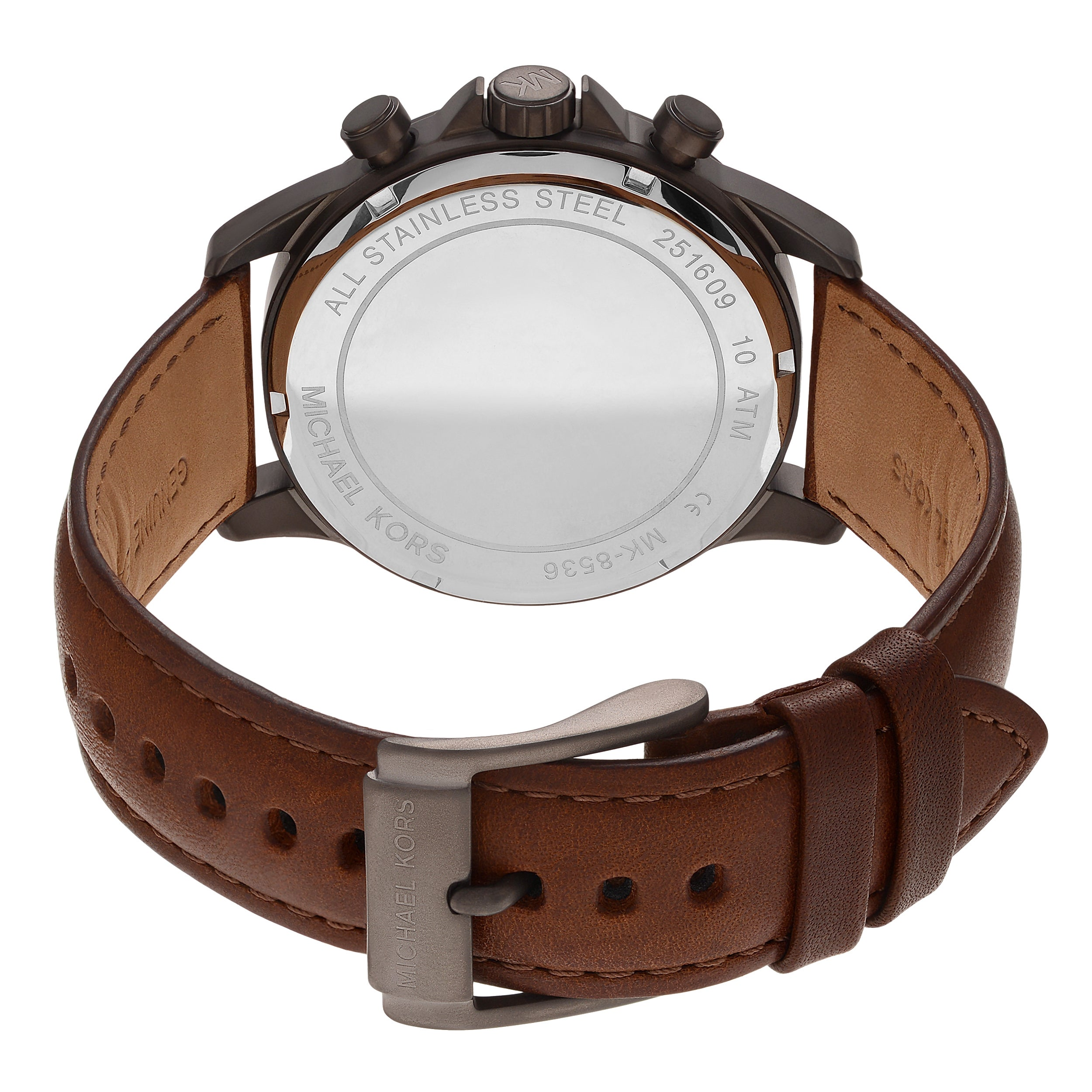 c5a1443a2cc3 Shop Michael Kors Men s MK8536  Gage  Gunmetal Tone Stainless Steel  Chronograph Dial Leather Strap Watch - Brown - Free Shipping Today -  Overstock - ...