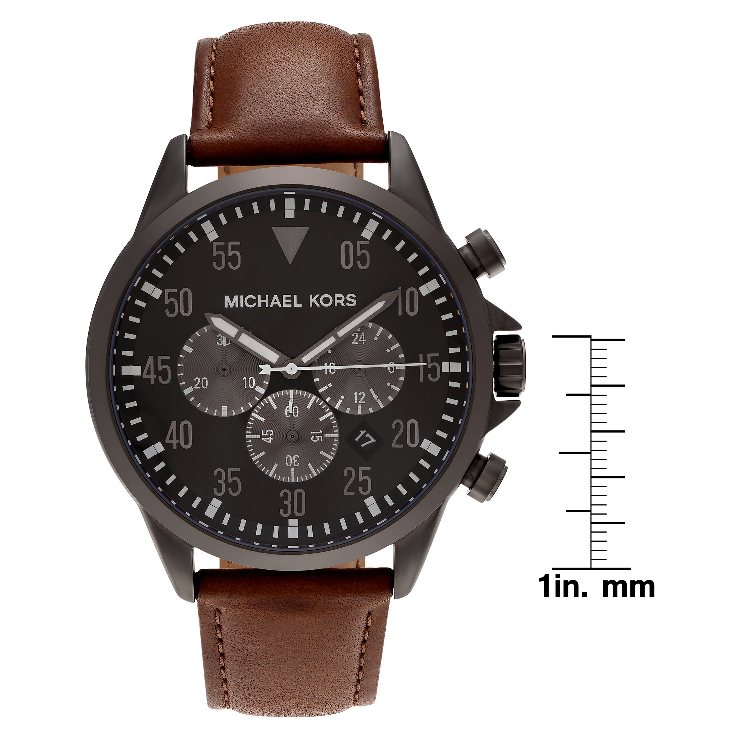 7fa1ba24635 Shop Michael Kors Men s MK8536  Gage  Gunmetal Tone Stainless Steel  Chronograph Dial Leather Strap Watch - Brown - Free Shipping Today -  Overstock - ...