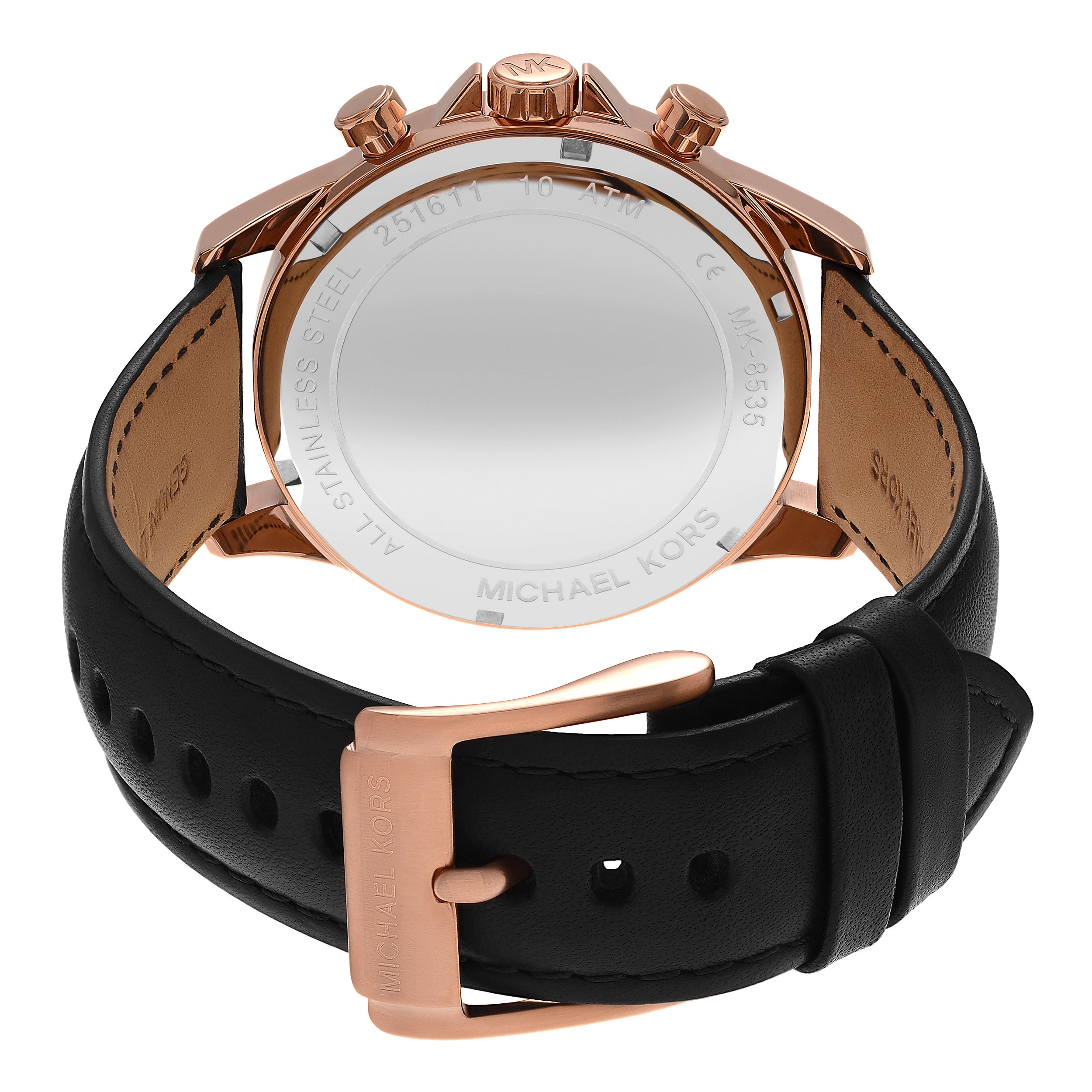 50583e82bfe2 Shop Michael Kors Men s MK8535  Gage  Rose Goldtone Stainless Steel  Chronograph Black Leather Strap Watch - Free Shipping Today - Overstock -  14803589