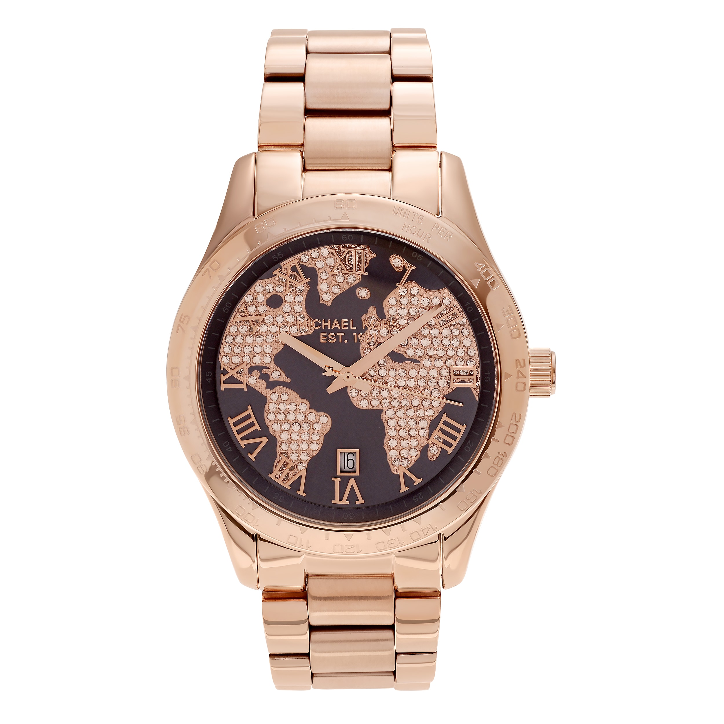 michael kors women's mk 'layton' rose goldtone stainless steel world mapdial link bracelet watch  free shipping today  overstockcom  . michael kors women's mk 'layton' rose goldtone stainless steel