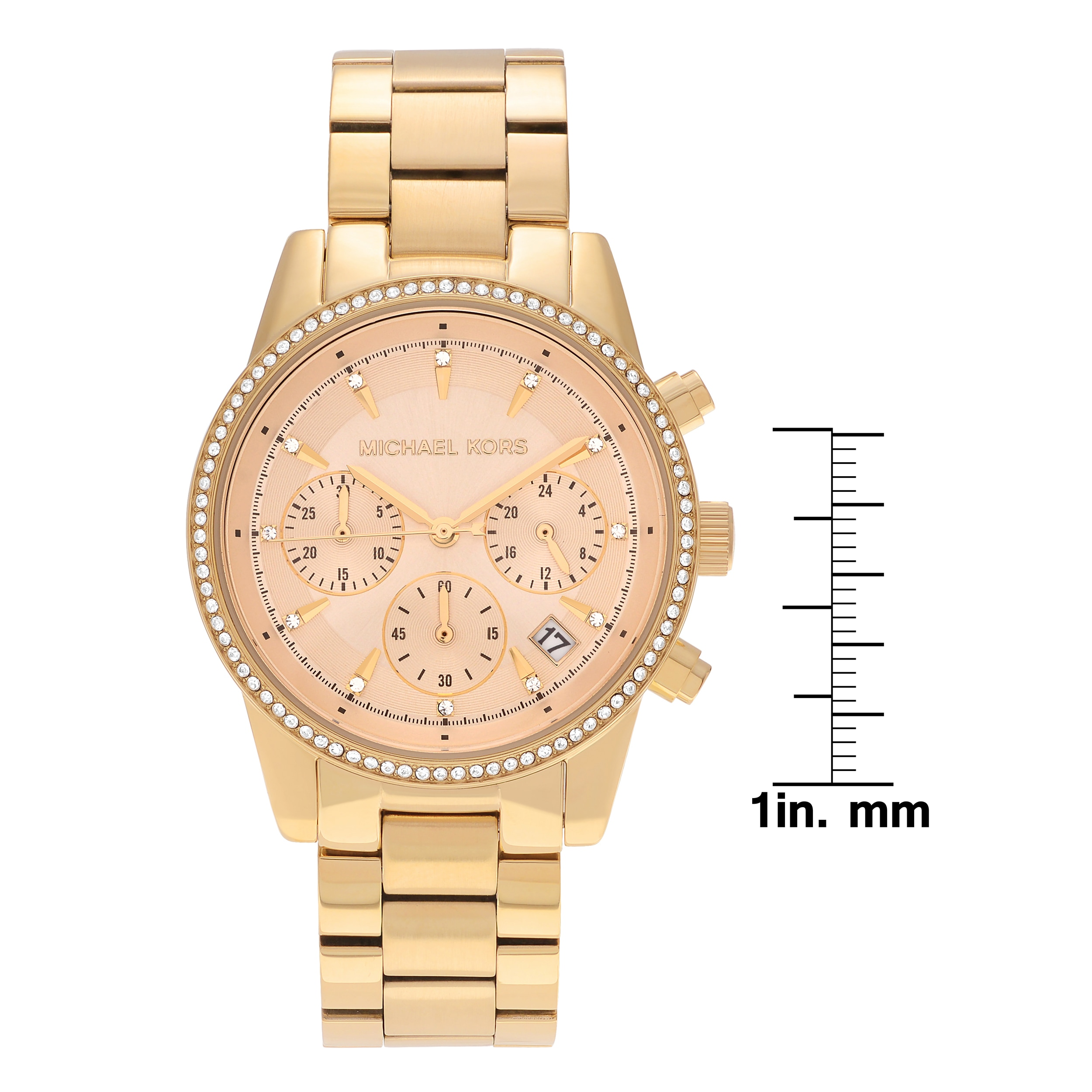f899cb83b1ed Shop Michael Kors Women s MK6356  Ritz  Goldtone Stainless Steel Crystal  Pave Chronograph Dial Link Bracelet Watch - Free Shipping Today - Overstock  - ...