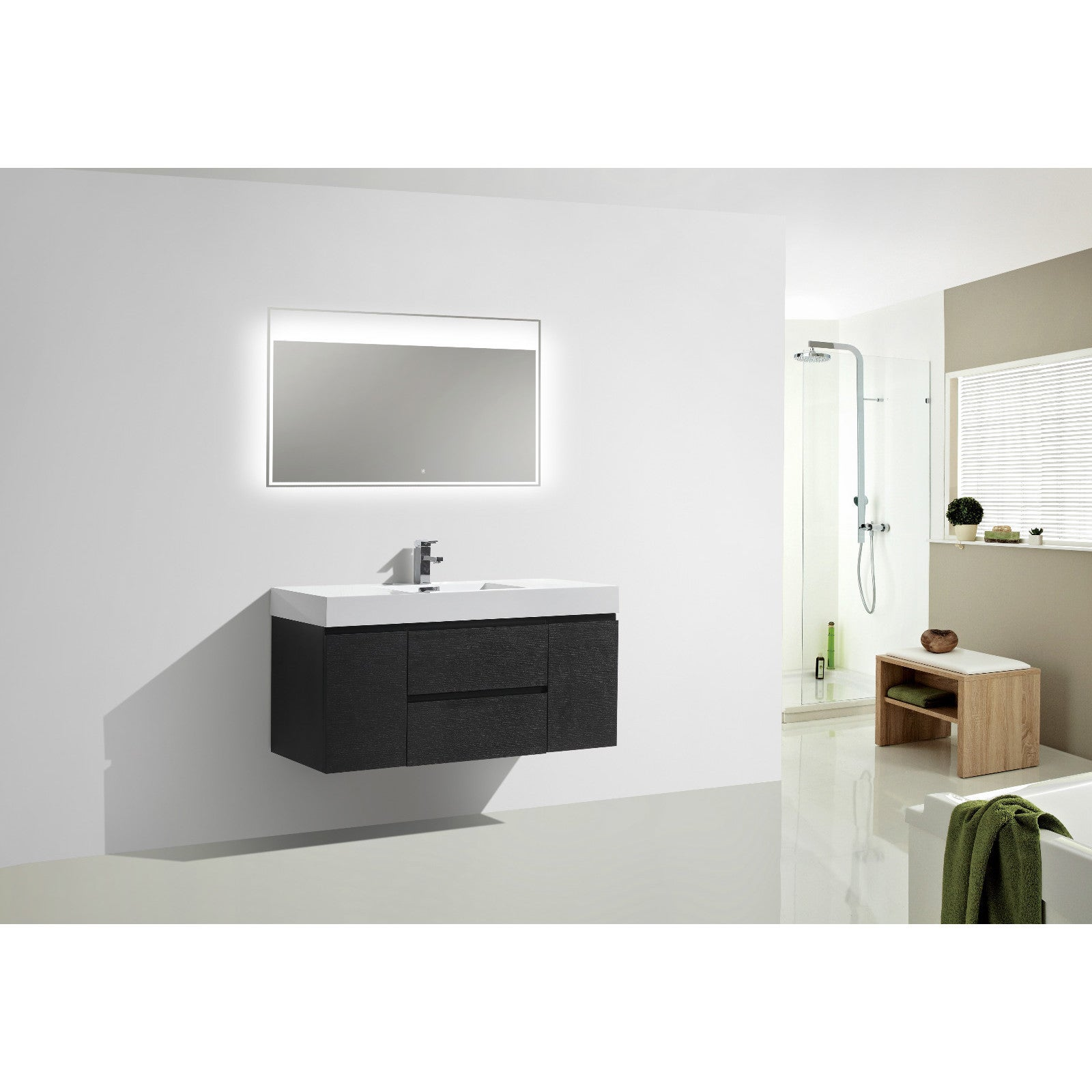 Moreno Mof 48 Inch Wall Mounted Modern Bathroom Vanity With Reinforced
