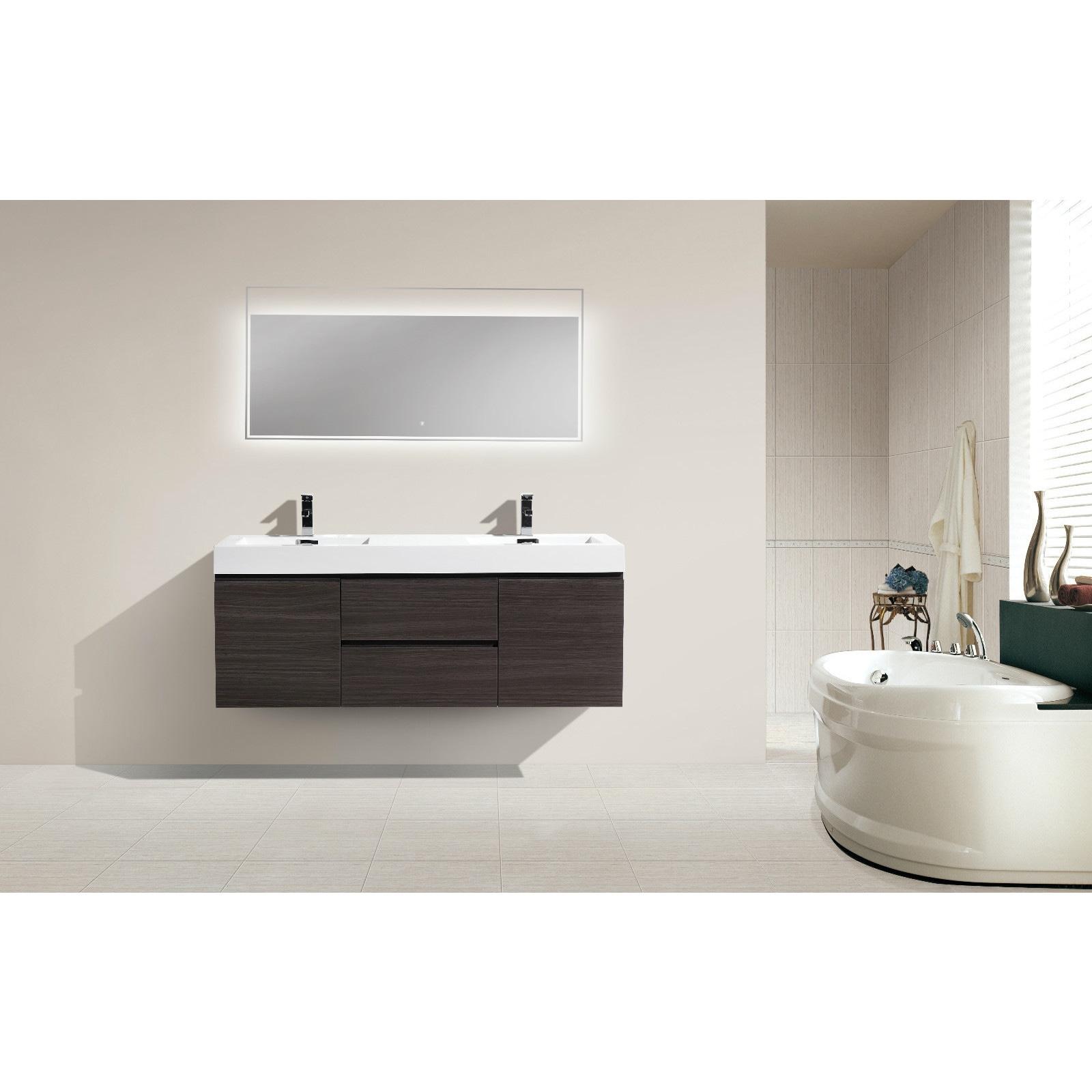 Shop Moreno Bath MOF 60 Inch Wall Mounted Modern Bathroom Vanity ...