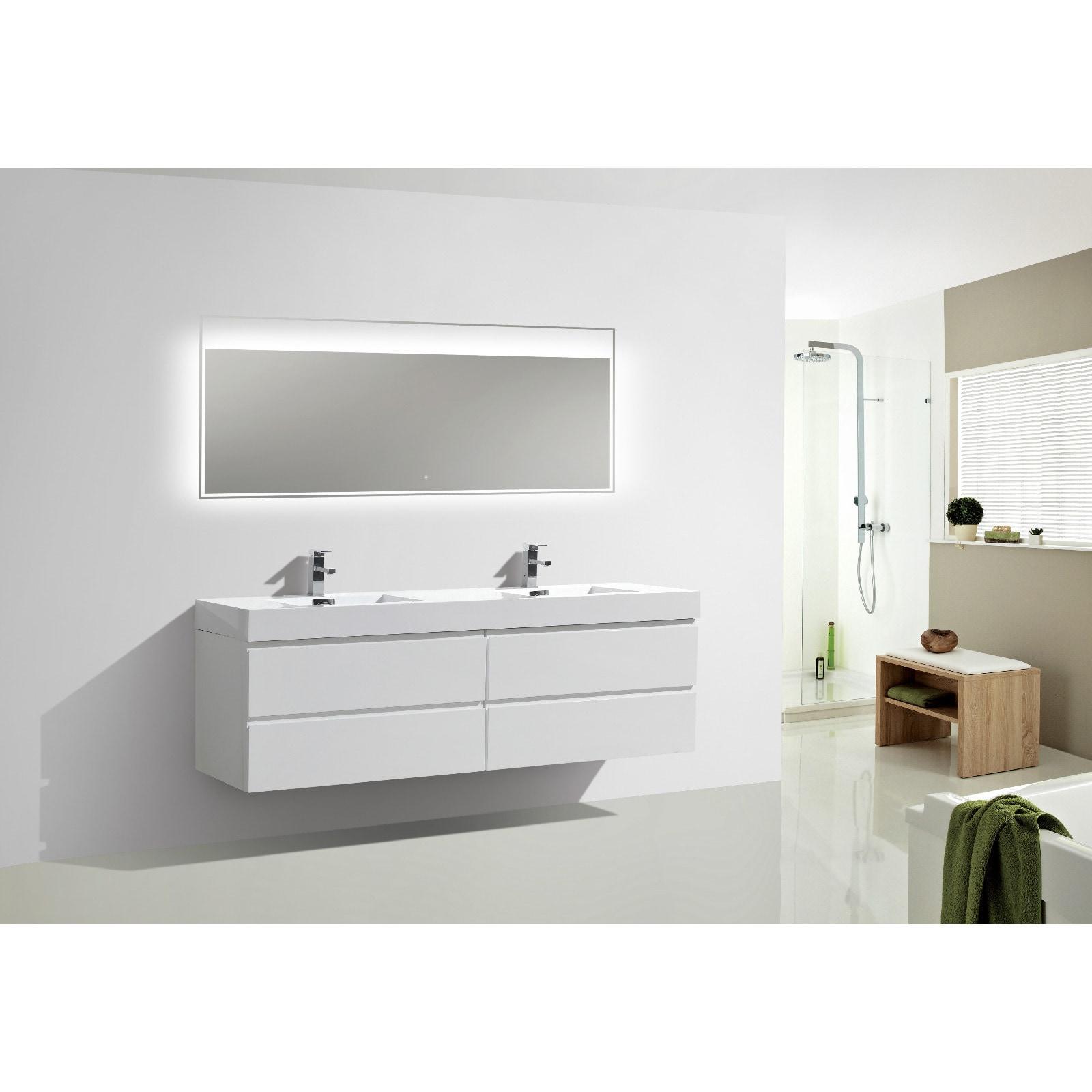 Shop Moreno Bath MOF 72 Inch Wall Mounted Modern Bathroom Vanity ...