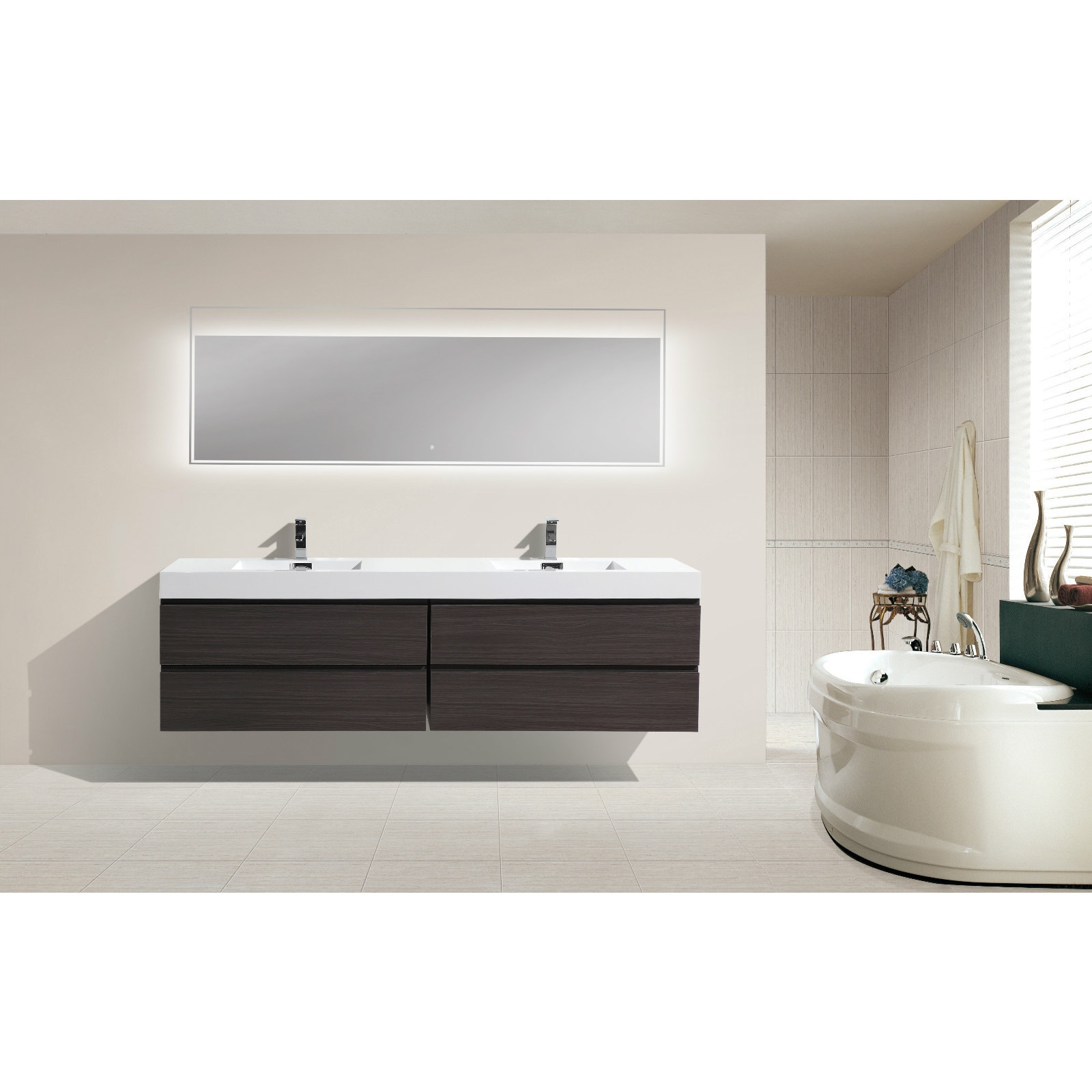 Shop Moreno Bath MOF 80 Inch Wall Mounted Modern Bathroom Vanity With Reinforced Acrylic Double Sink - On Sale - Free Shipping Today - Overstock.com - ...