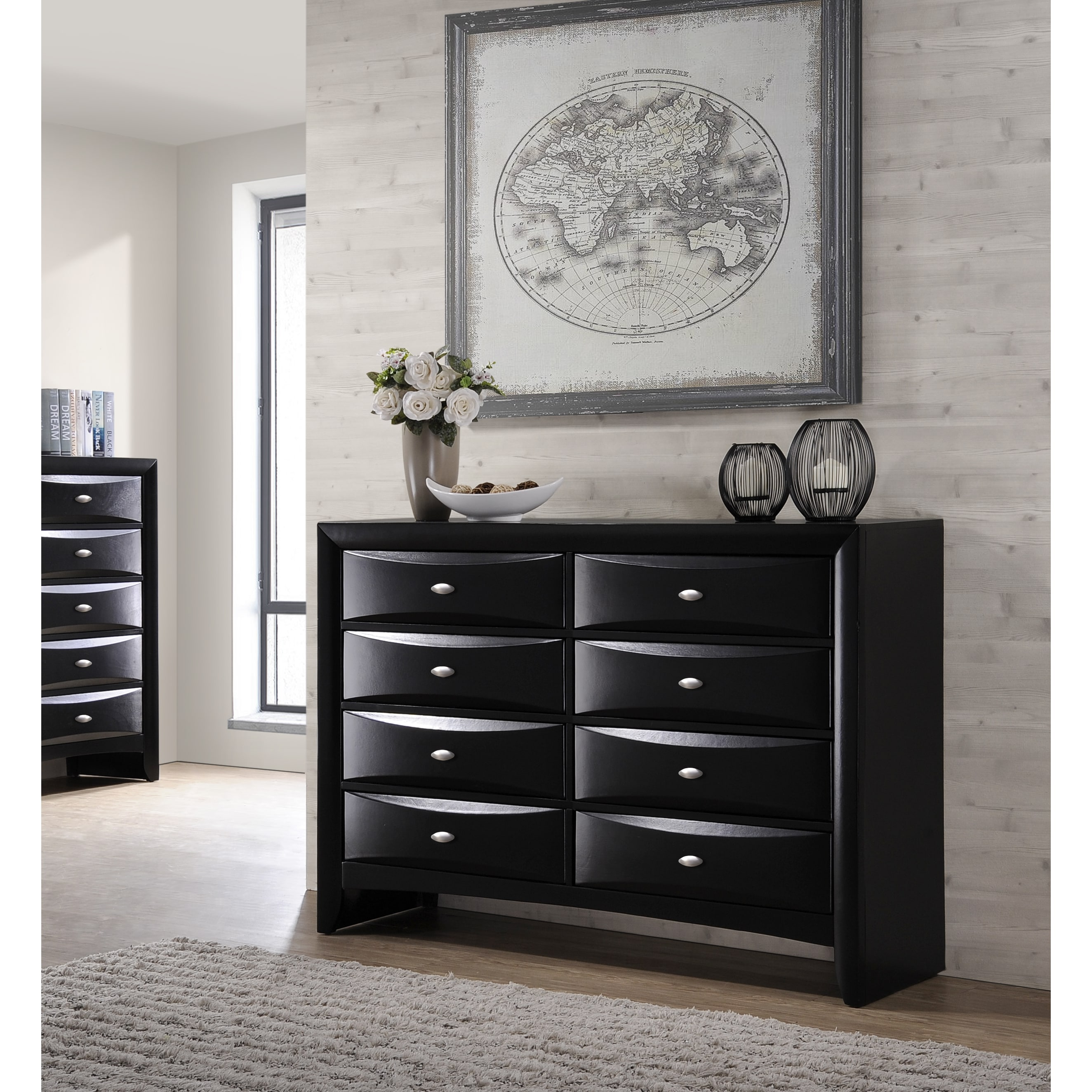 Shop Blemerey Fullyembled Black Finish Wood Dresser And Mirror Free Shipping Today Overstock Com 14807626