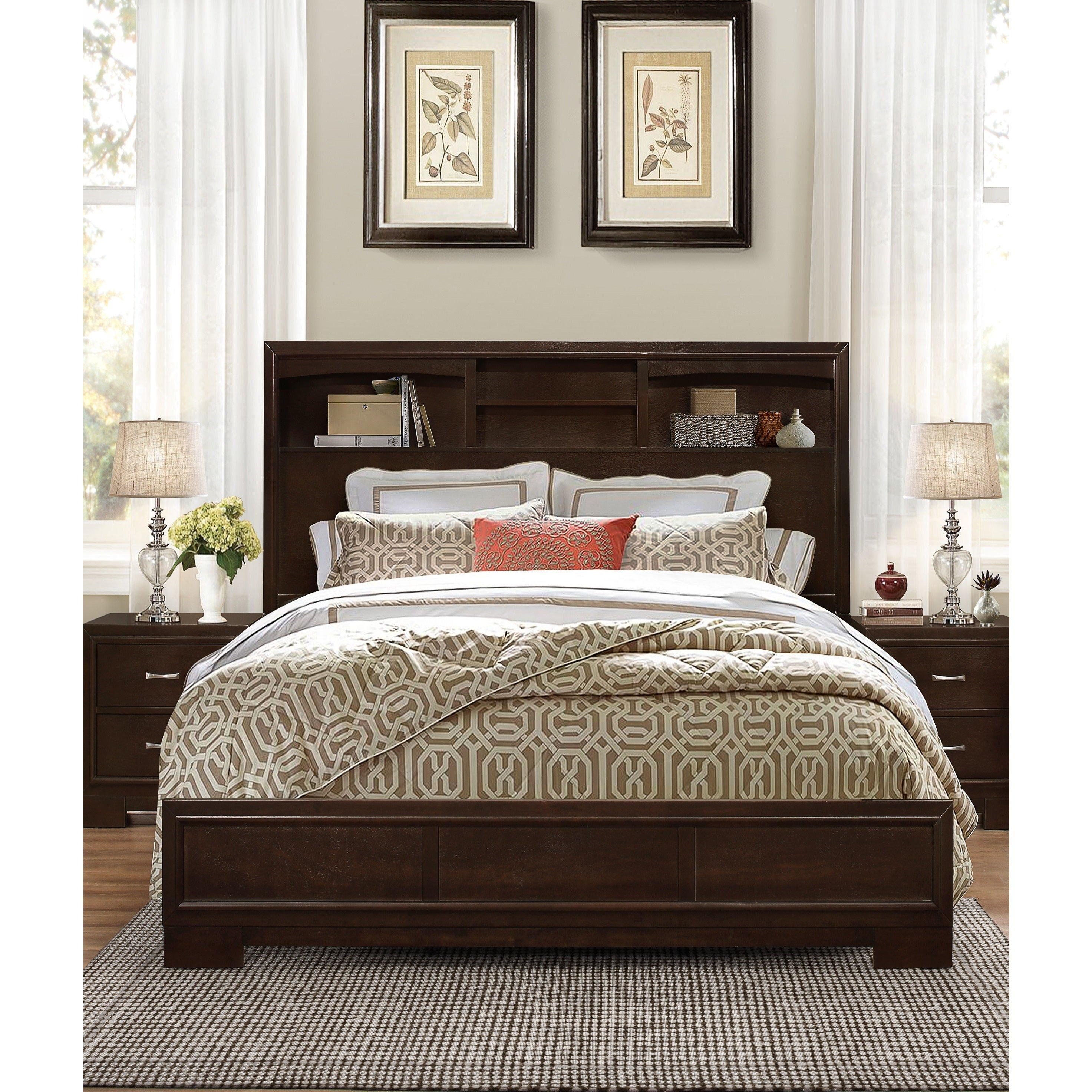 Montana Walnut Wood Modern Queen Bed With Bookcase  Free