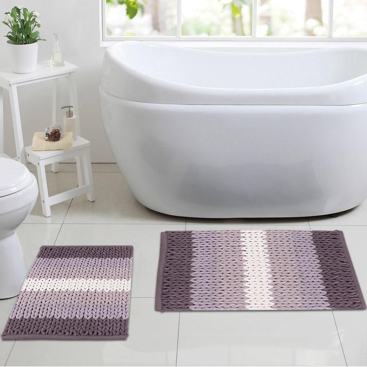 luxury ultra plush ombre stripe 2-piece bathroom rug set (assorted