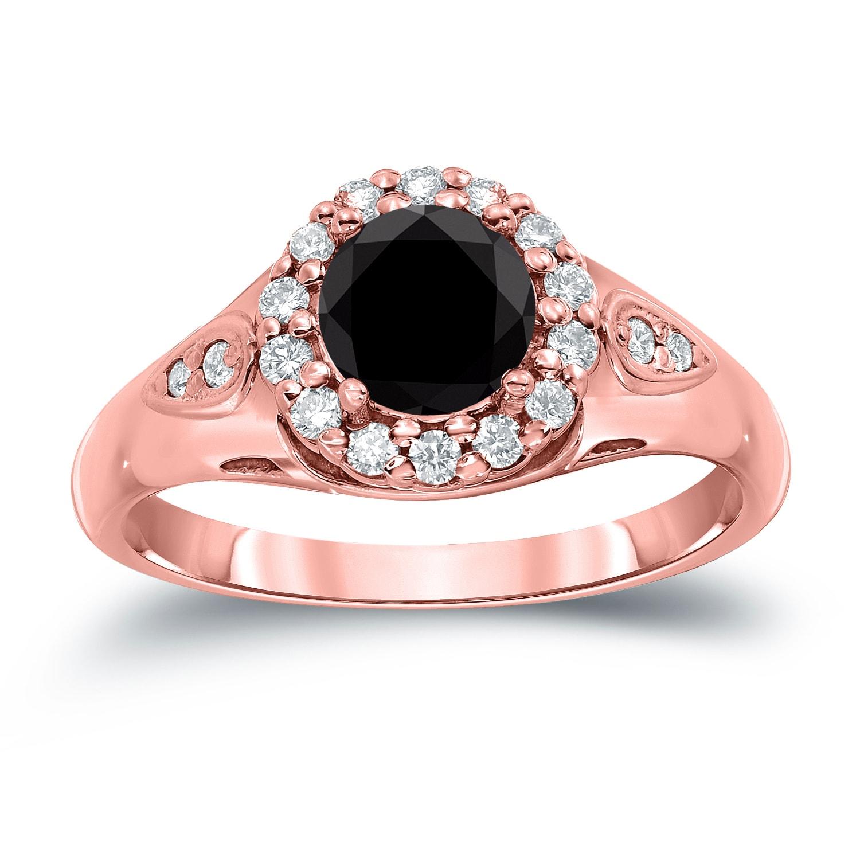 Shop Auriya 14k Gold 1 1/4ct TDW Round Halo Black Diamond Engagement ...