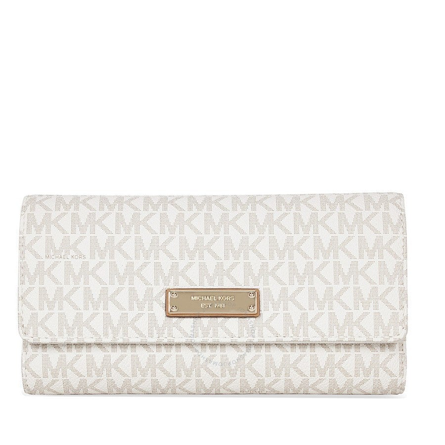 58316620fb02 Shop Michael Kors Jet Set Vanilla PVC Checkbook Wallet - Free ...