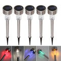 5 Pcs Fashion Outdoor Stainless Steel Colorful Light Solar Power Garden Lamp
