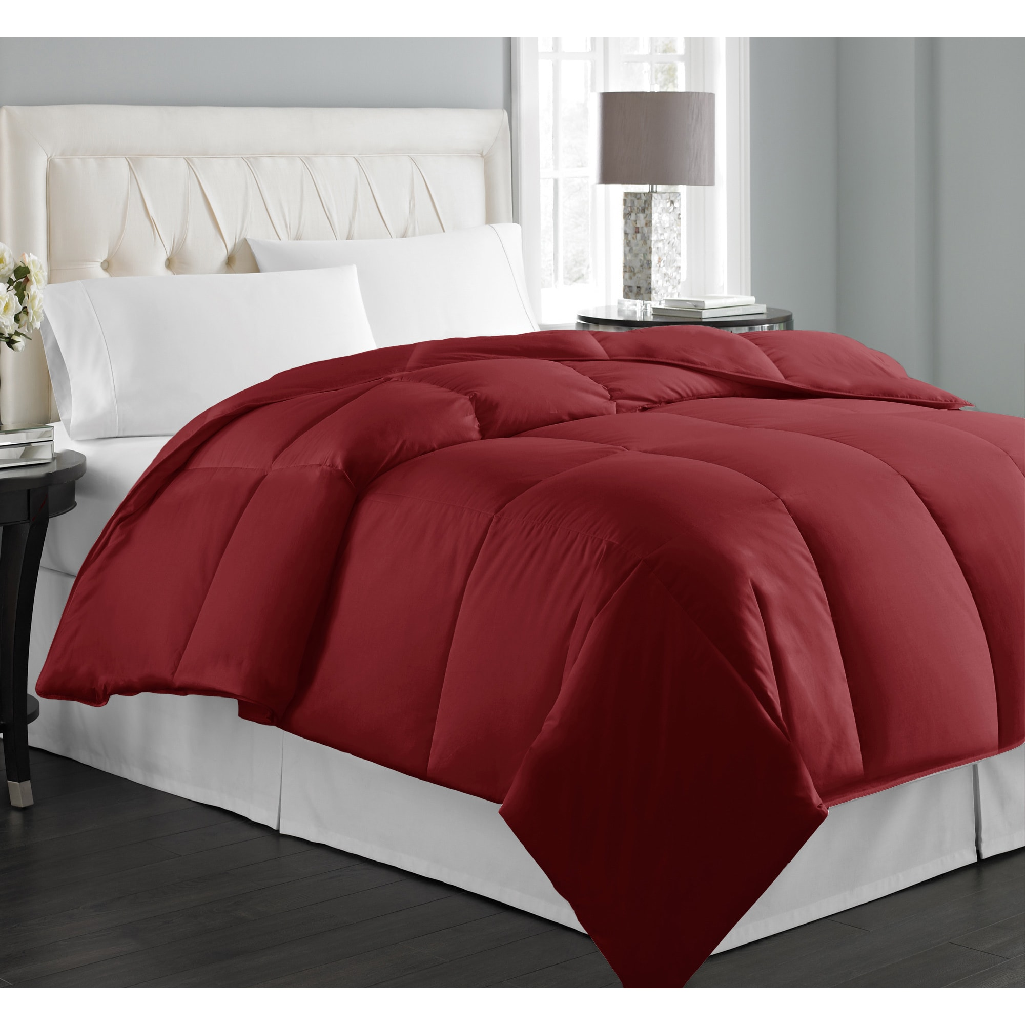 white queen overstock tufted pintuck down alternative bedding all product today comforter shipping bath free season