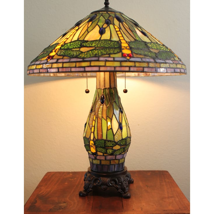 Shop Serena D Italia Tiffany Style Green Dragonfly Table Lamp With