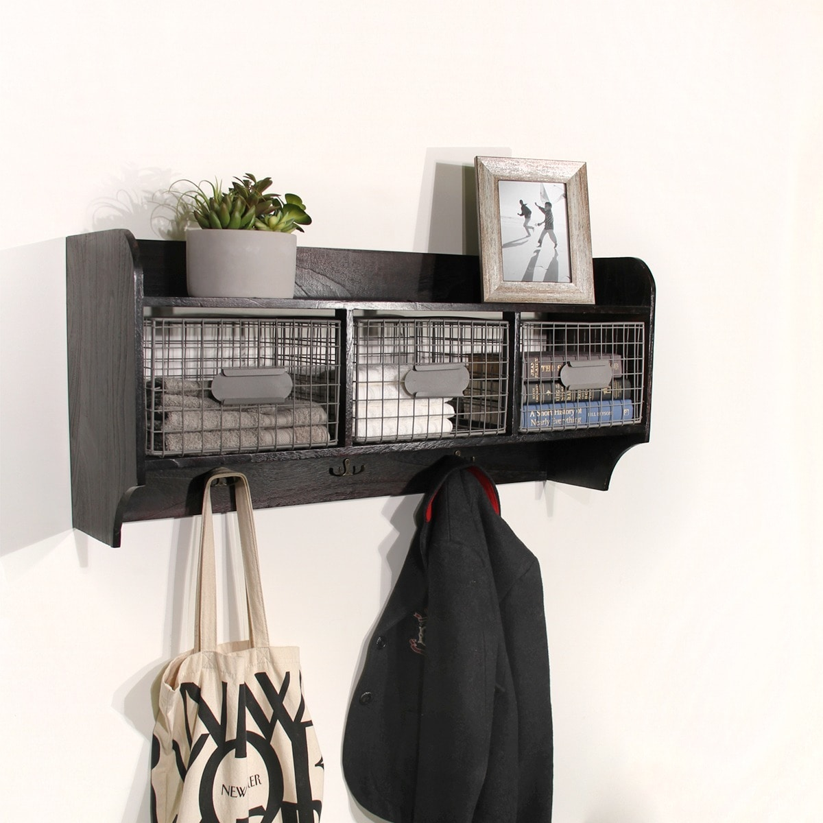 Wood Wall Shelf with 3 Wire Baskets and Hanging Hooks - Free ...