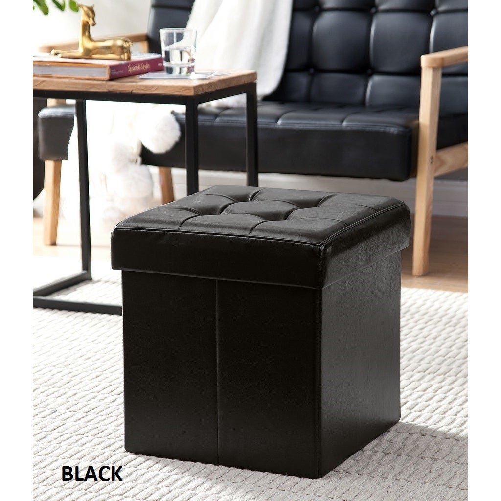 Shop Porch U0026 Den Boerum Hill Nevins Foldable Tufted Leather Storage Ottoman  Cube   Free Shipping Today   Overstock.com   20340388