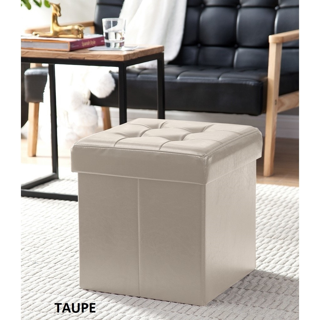 Shop Porch u0026 Den Boerum Hill Nevins Foldable Tufted Leather Storage Ottoman Cube - Free Shipping On Orders Over $45 - Overstock.com - 20340388 & Shop Porch u0026 Den Boerum Hill Nevins Foldable Tufted Leather Storage ...