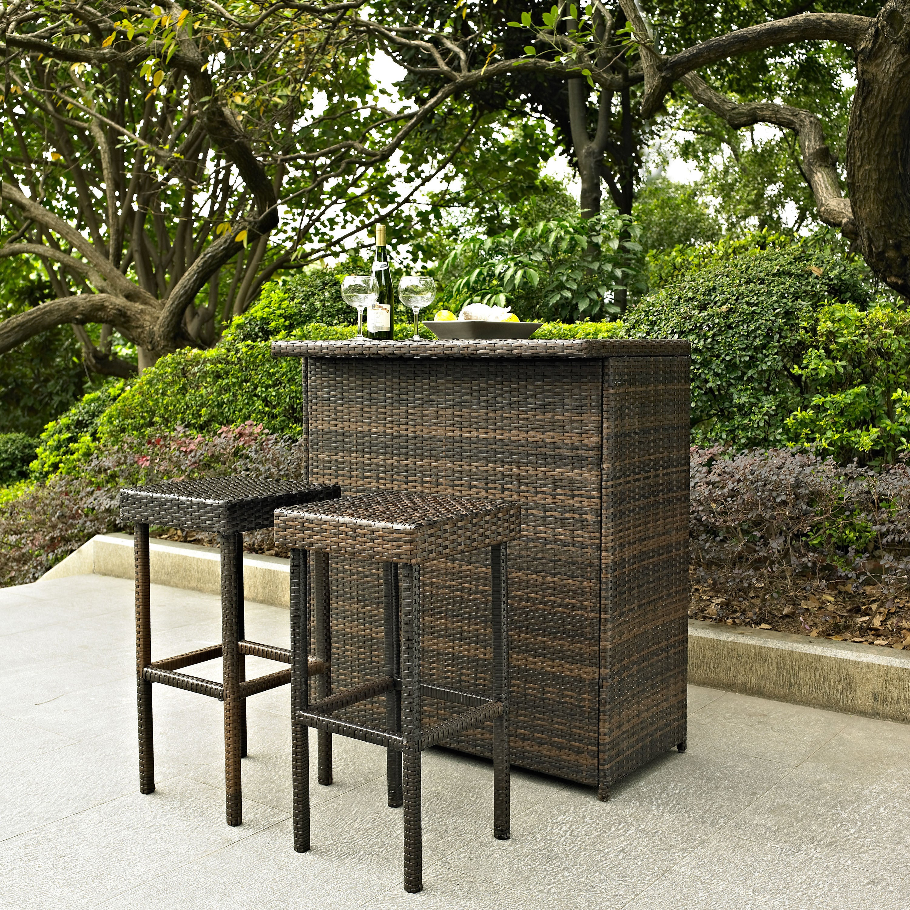 Superb Palm Harbor 3 Piece Outdoor Wicker Bar Set Bar Two Stools Ncnpc Chair Design For Home Ncnpcorg