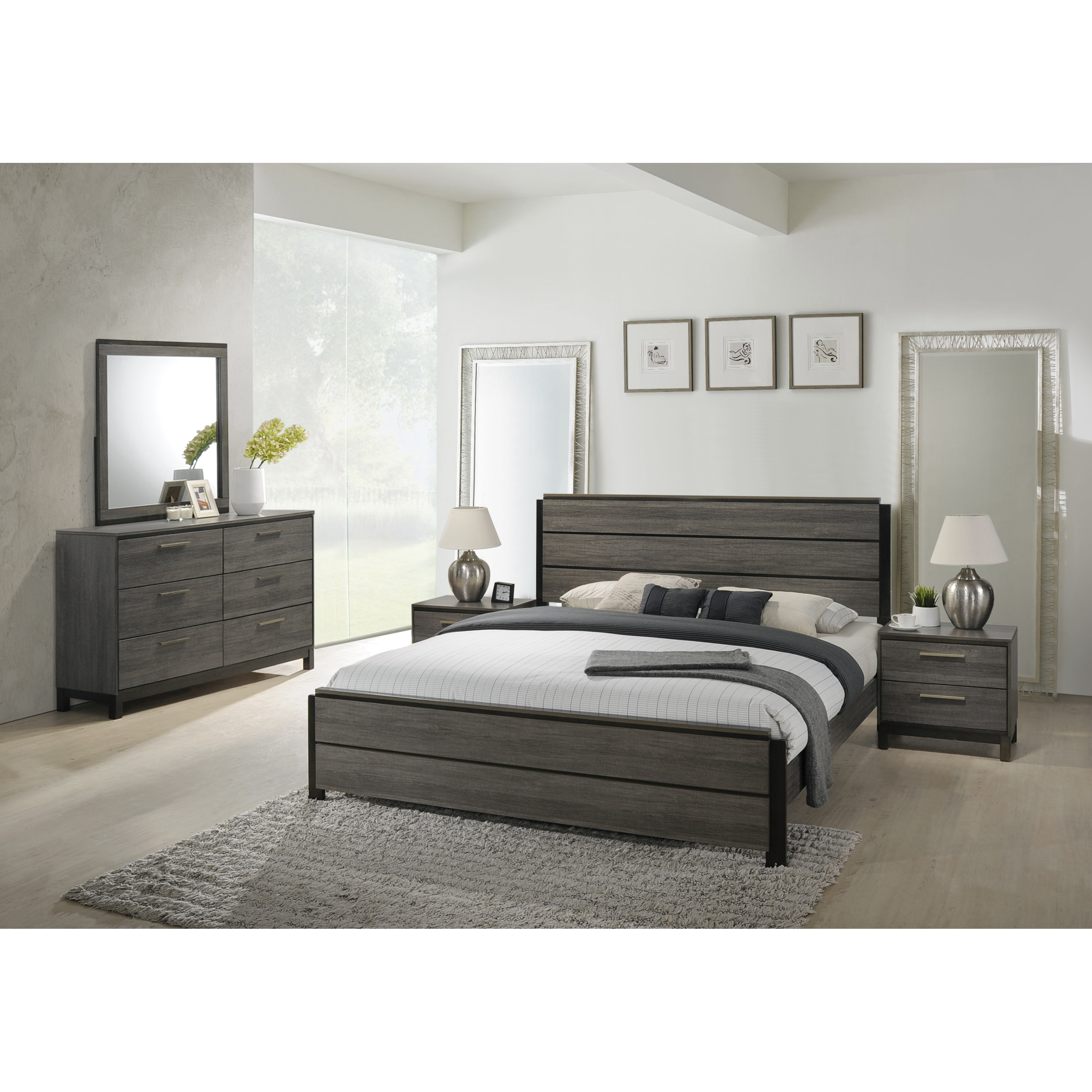 a16c6bec4 Ioana 187 Antique Grey Finish Wood Bed Room Set, King Size Bed, Dresser,  Mirror, 2 Night Stands