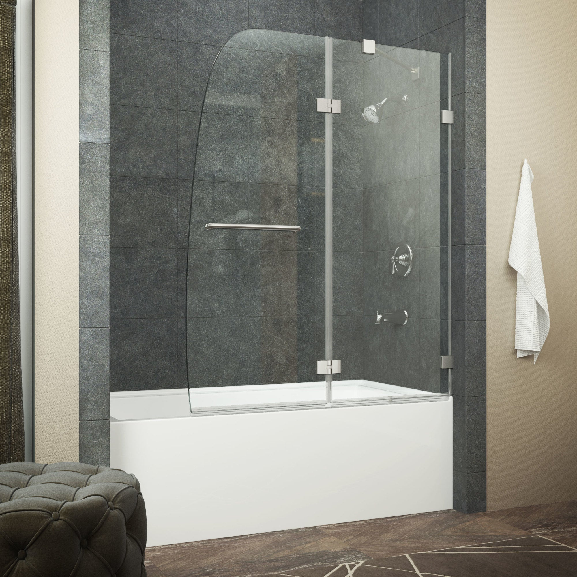 Shop Anzzi Herald Series 48 In By 58 In Frameless Hinged Tub Door