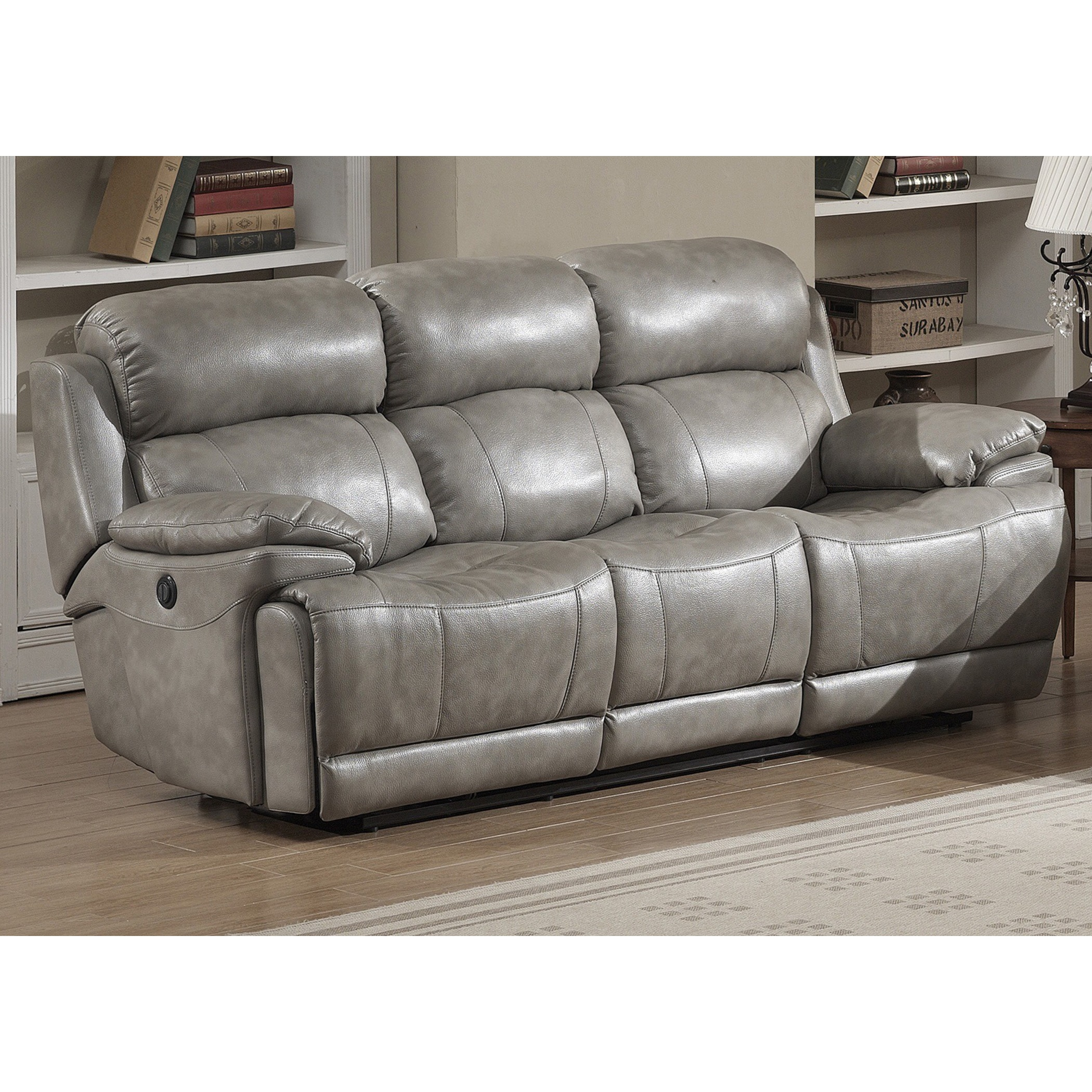 Estella Italian Power Contemporary Grey Reclining Sofa Leather dCxoeB